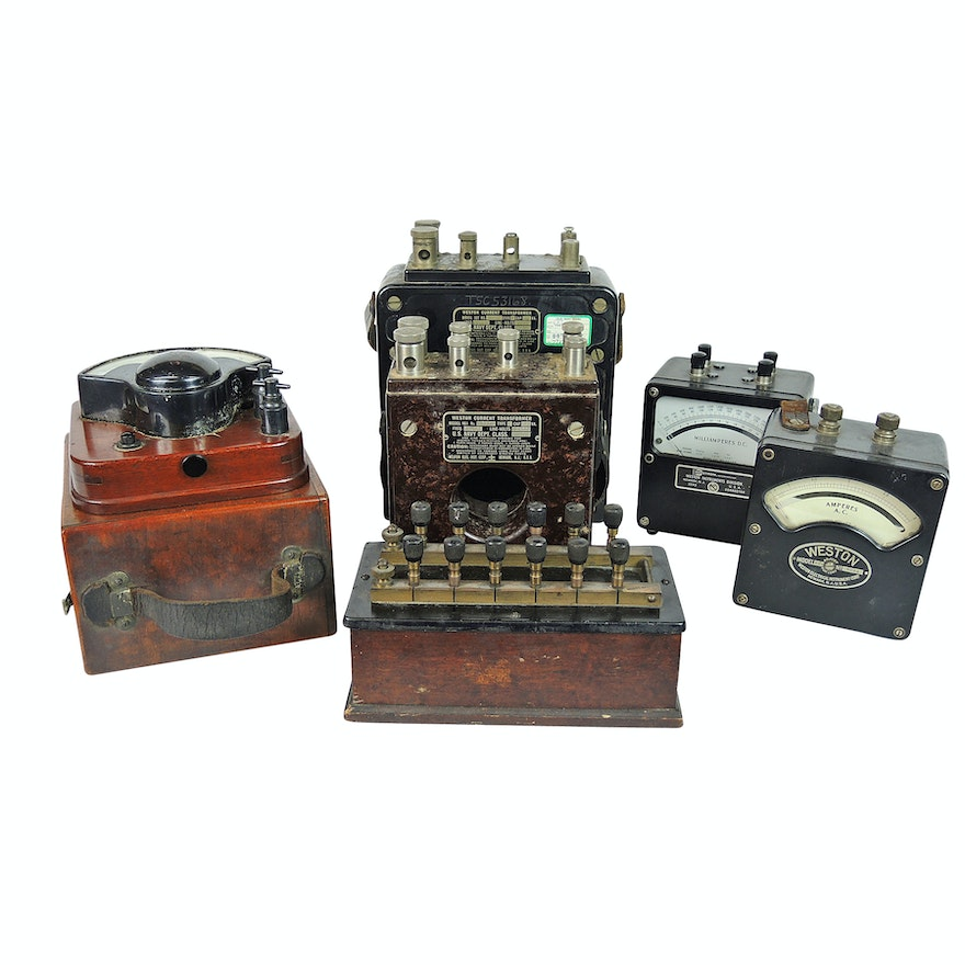 Scientific Testing Equipment Including U S  Navy Weston Current Transformers