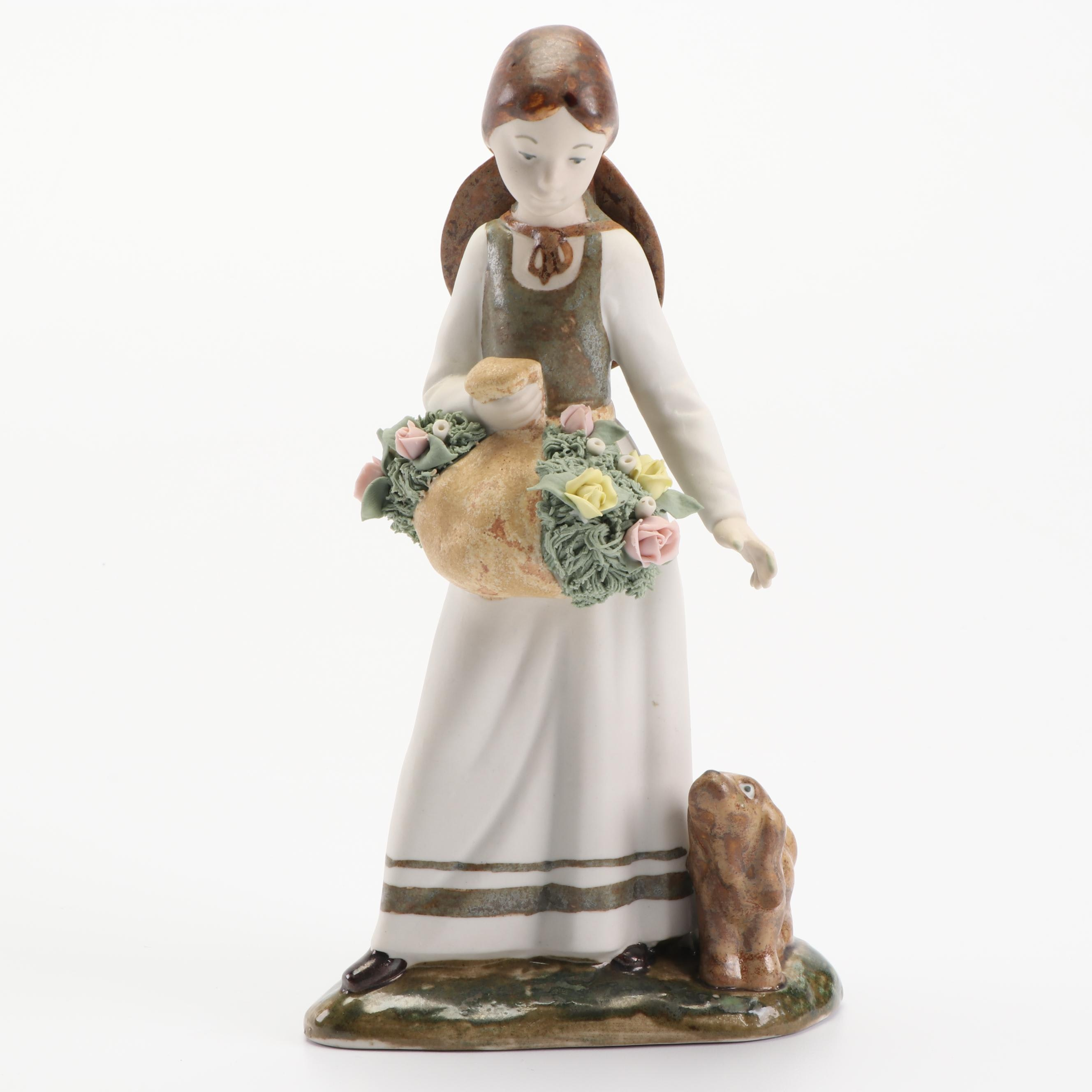 Rex Valencia Hand-Painted Porcelain Figurine, Late 20th Century