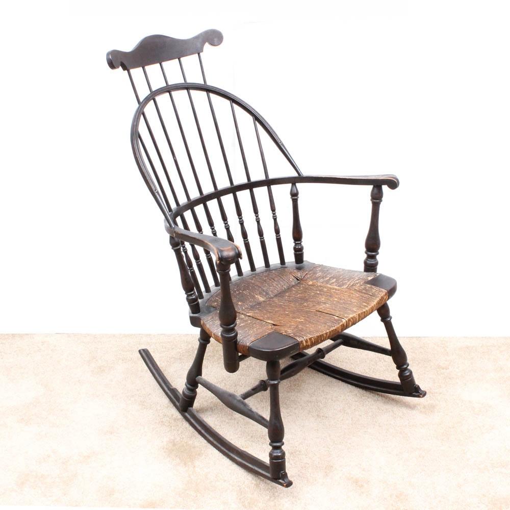 Antique High Back Windsor Rocking Chair