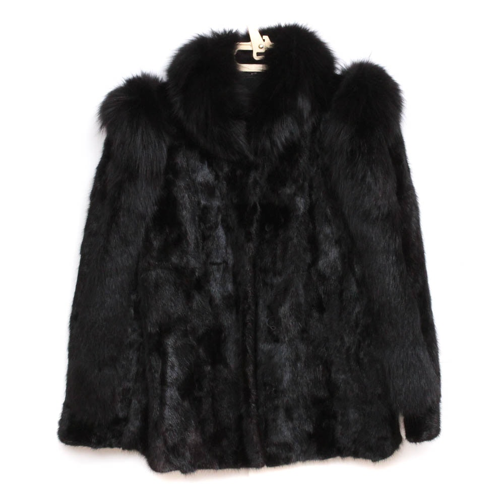 Black Fox Fur and Dyed Mink Fur Coat