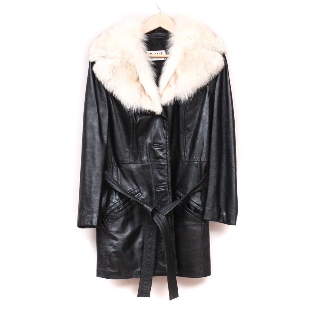 Black Leather Jacket with Arctic Fox Fur Collar
