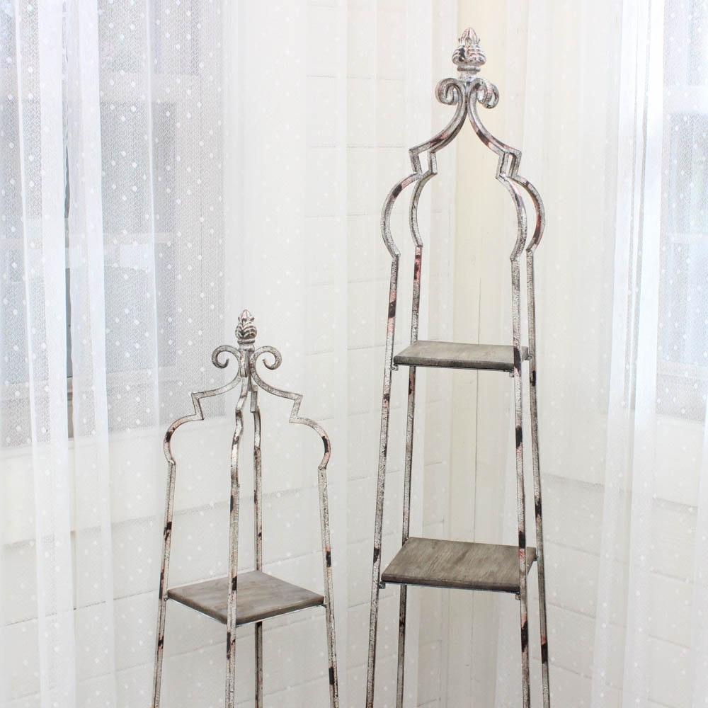 Metal and Wood Freestanding Display Shelves