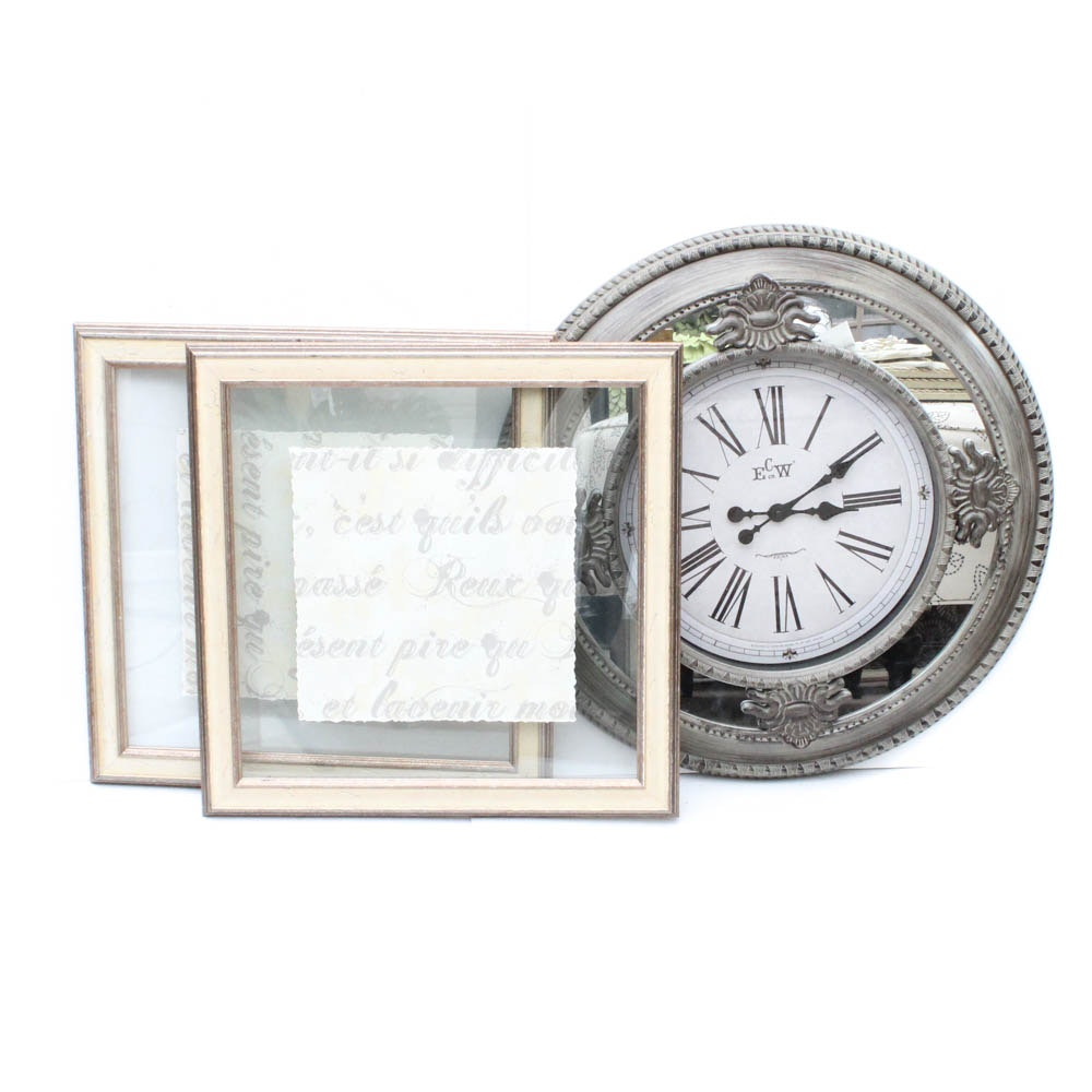 Framed Wall Art and Mirrored Wall Clock