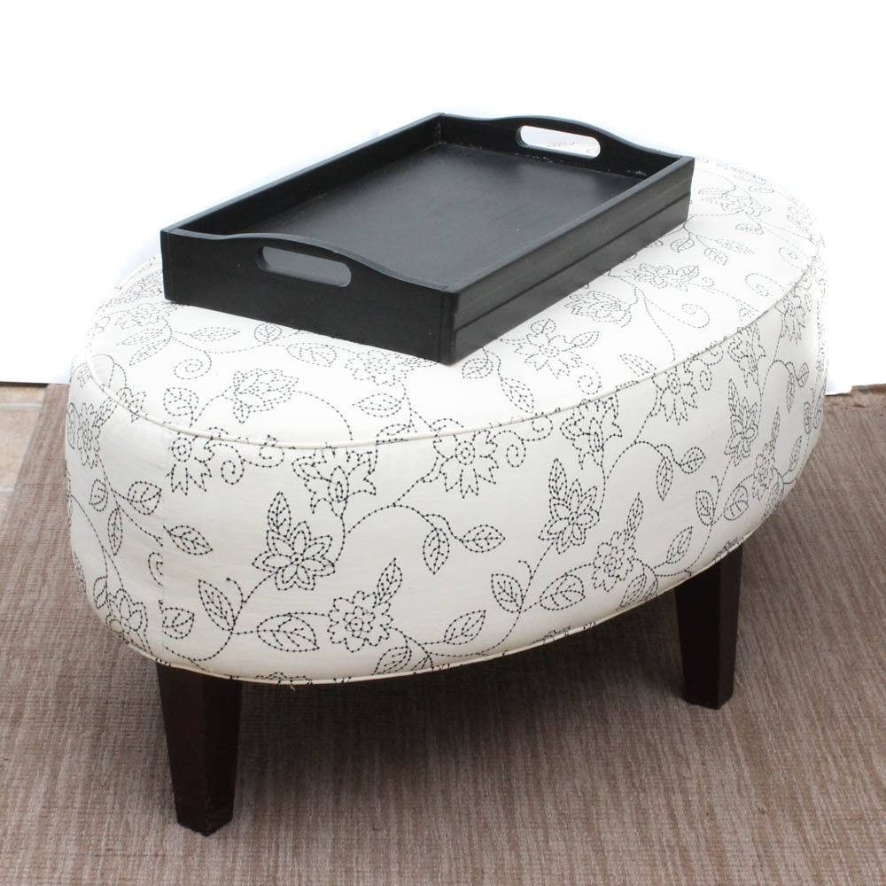 FrontRoom Furnishings Upholstered Oval Ottoman