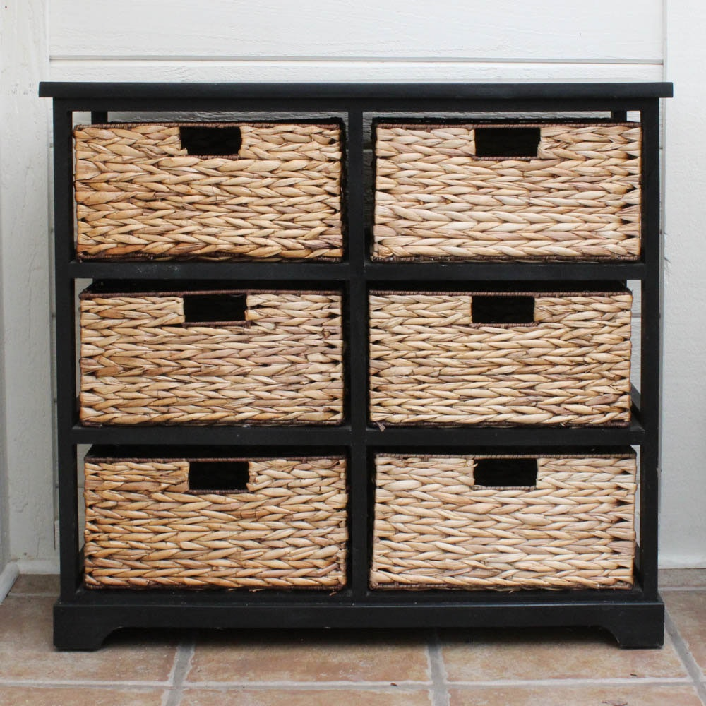 FrontRoom Furnishings Raffia Wood Drawer Organizer