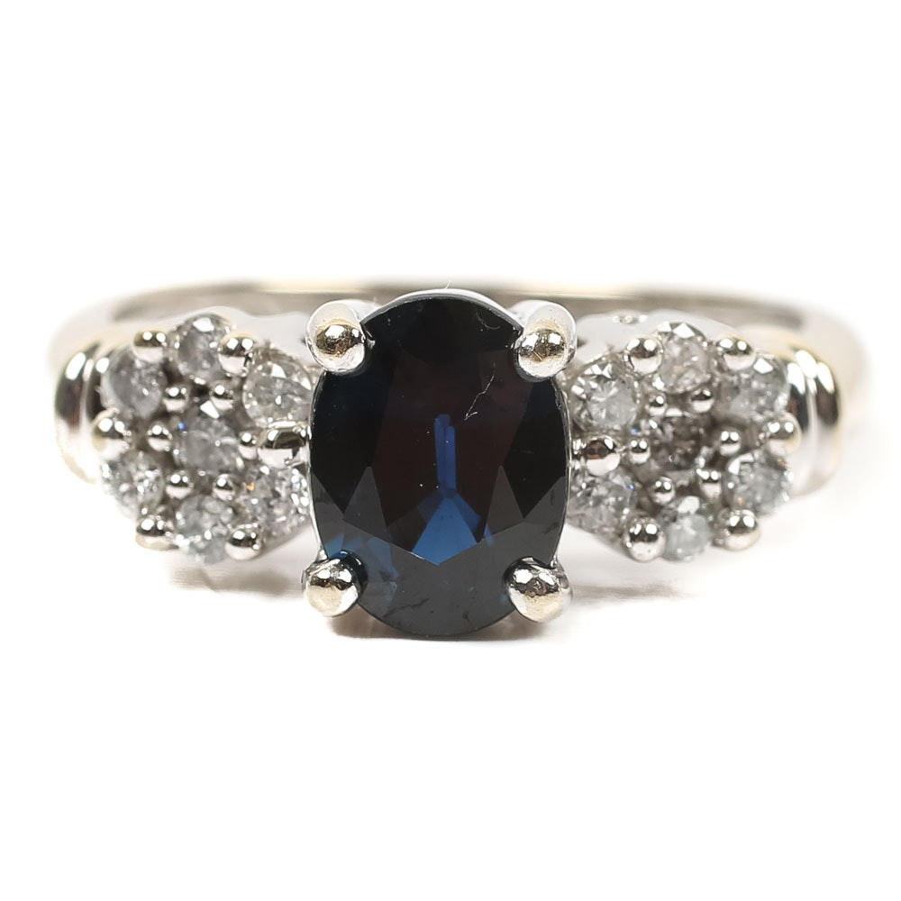 14K White Gold Sapphire and Diamond Flower Accented Ring