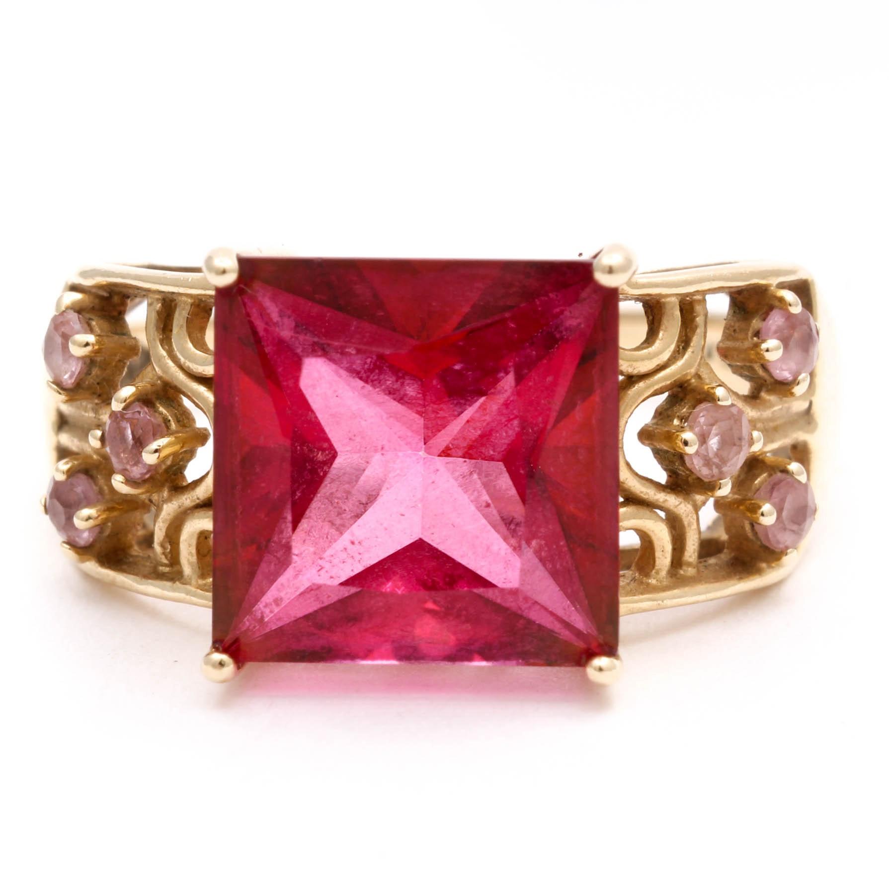 10K Yellow Gold Imitation Gemstone and Quartz Ring