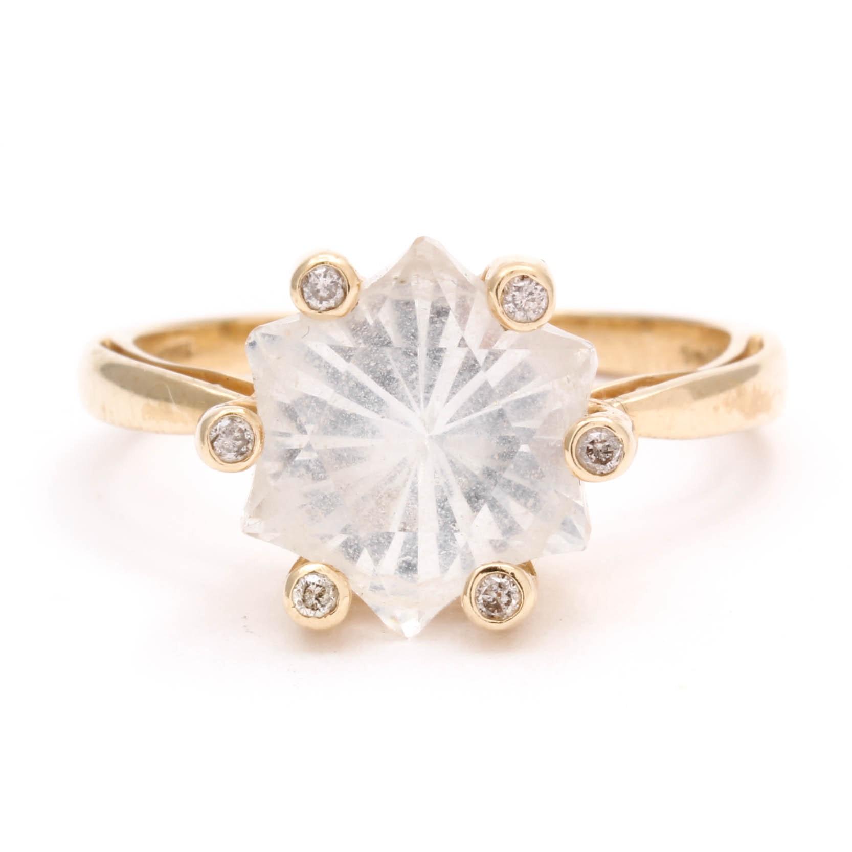 14K Yellow Gold Quartz Ring with Diamond Accents