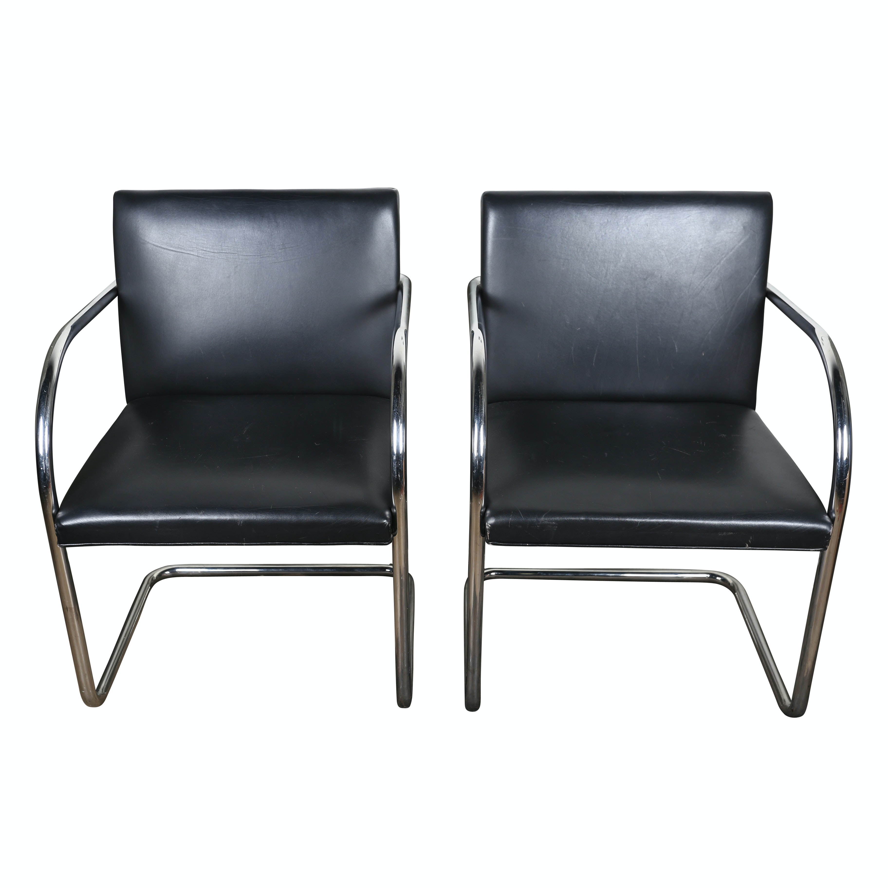 """""""Brno"""" Leather and Chrome Armchairs by Mies van der Rohe for Knoll, Late 20th C"""
