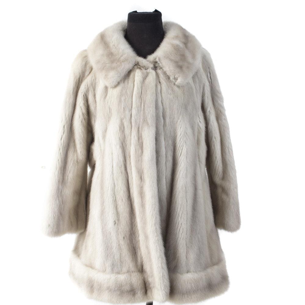 Tourmaline Mink Fur Coat with Adjustable Fur Belt by Donenfeld's