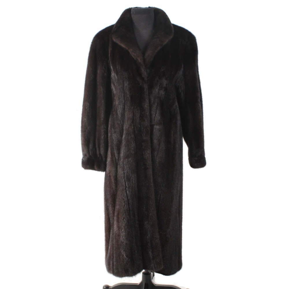 Mahogany Mink Fur Full-Length Coat by The Evans Collection