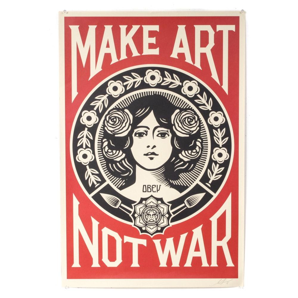 """Shepard Fairey Signed 2018 Offset Print """"Make Art Not War"""""""