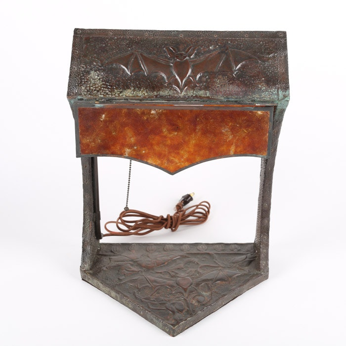 Jugendstil Style Art Nouveau Hammered Copper Bat Motif Table Lamp