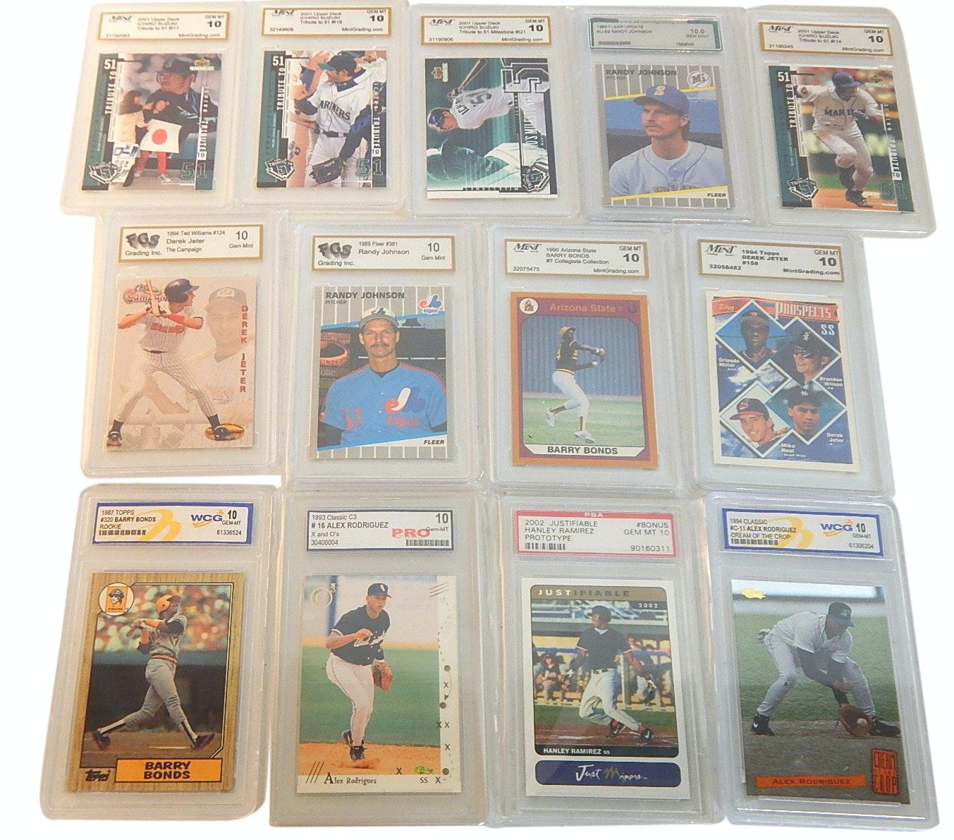 13 Graded Baseball Rookie GEM-MT 10 Cards - Jeter, Ichiro, Bonds