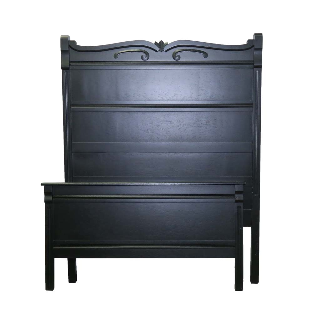 Painted Oak Full Size Bed, Early 20th Century