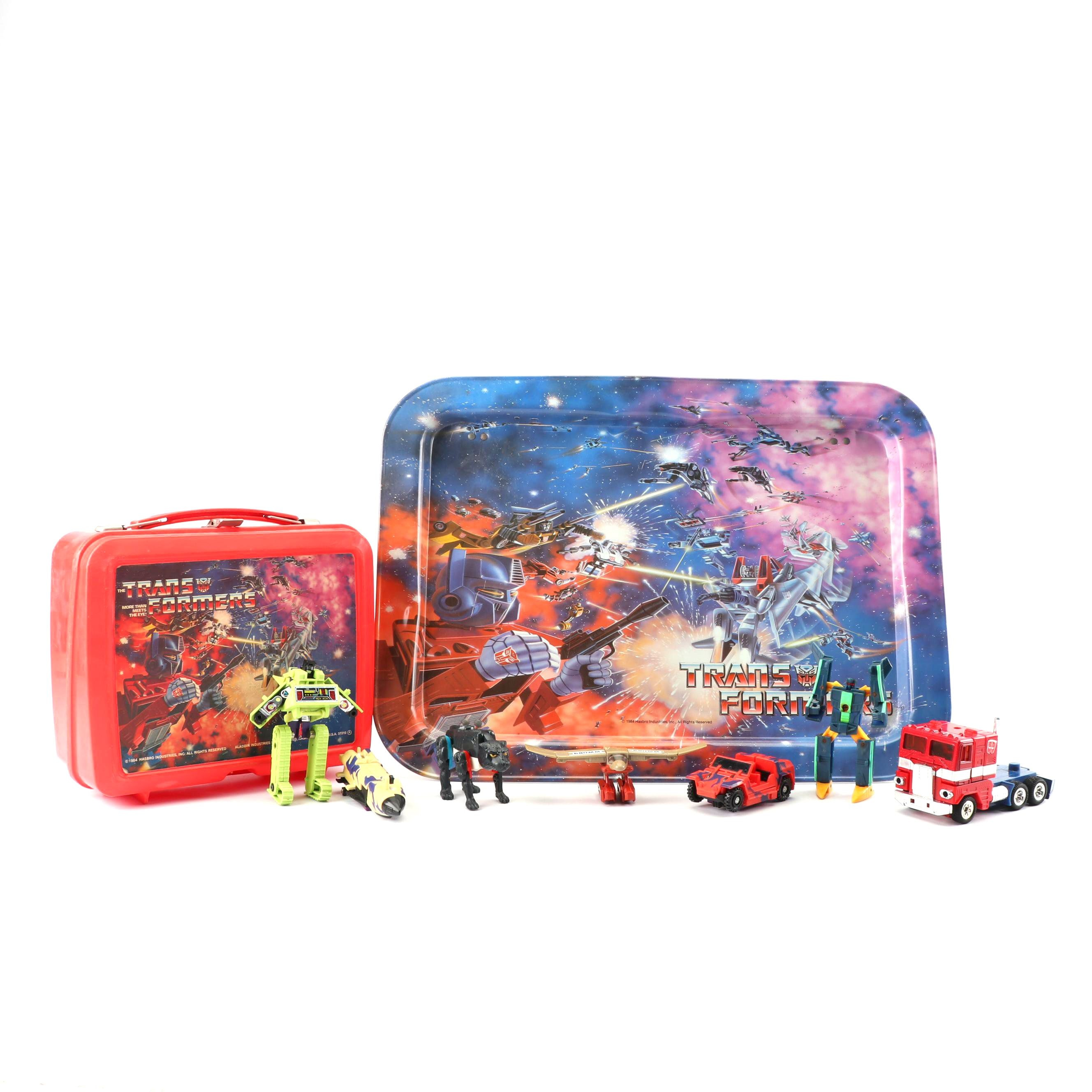 Vintage Transformers Lunchbox, Dinner Tray and Action Figures