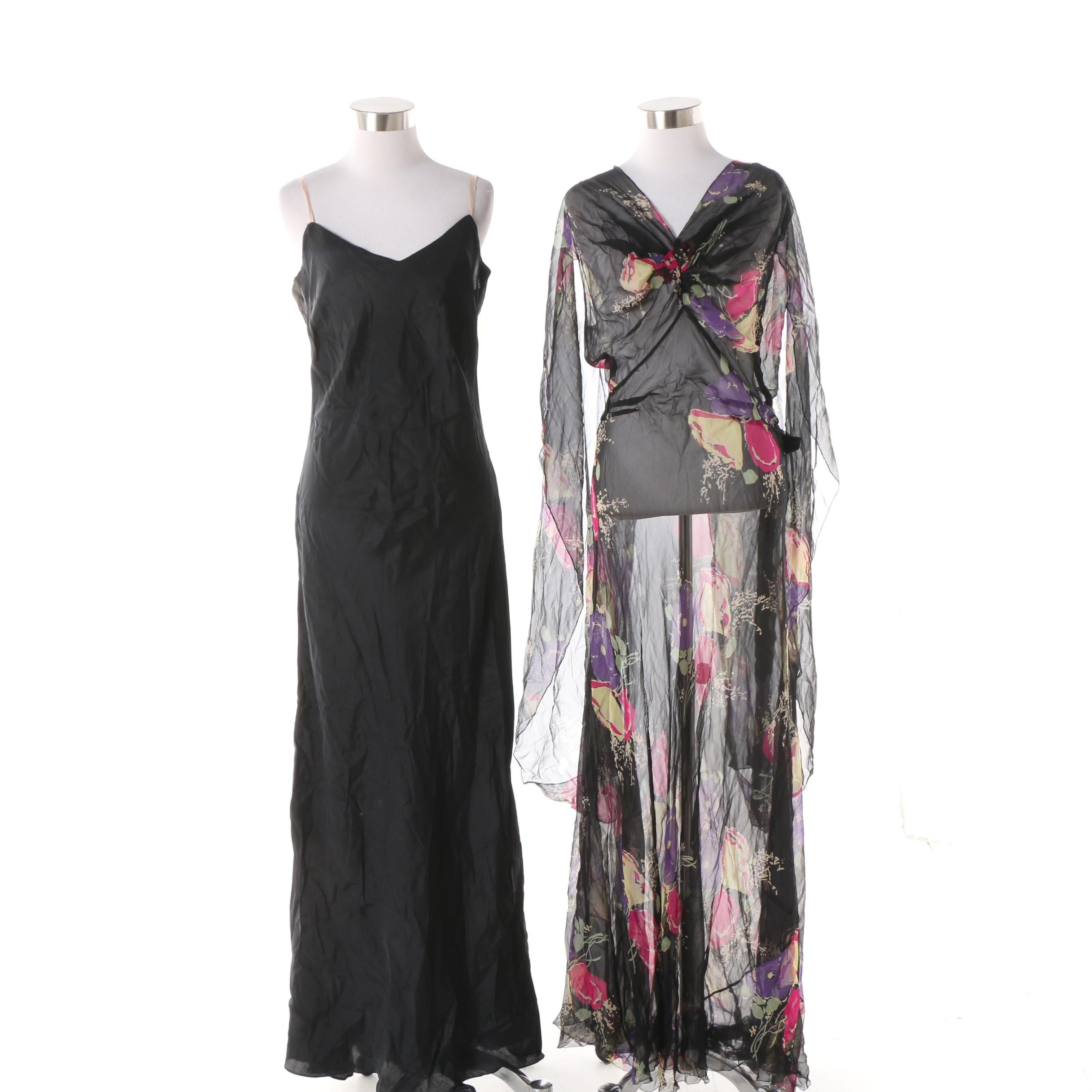 Circa 1970s Sheer Draped Sleeve Floral Print Black Maxi Dress and Slip