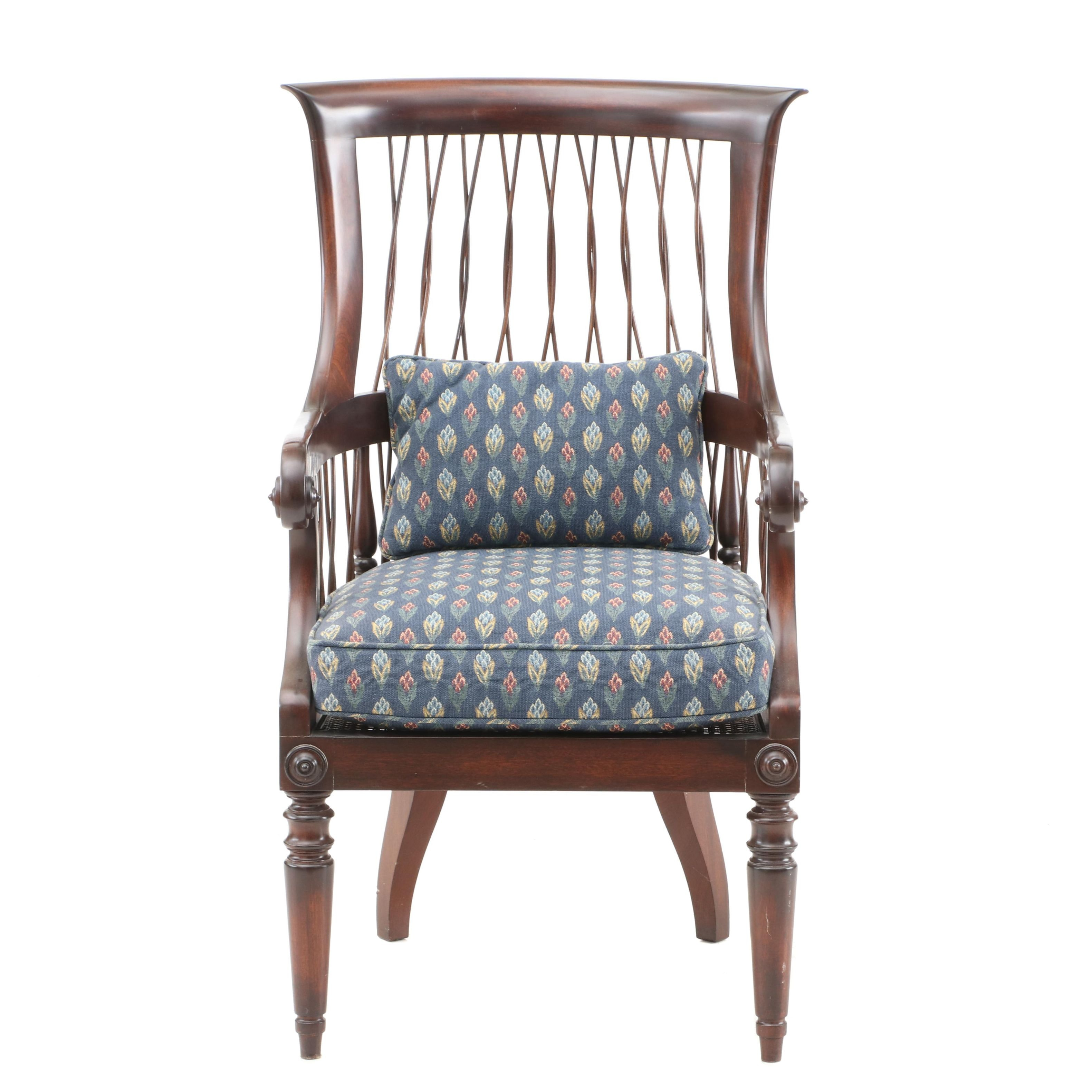 Contemporary Mahogany Finish Cane Seat Armchair