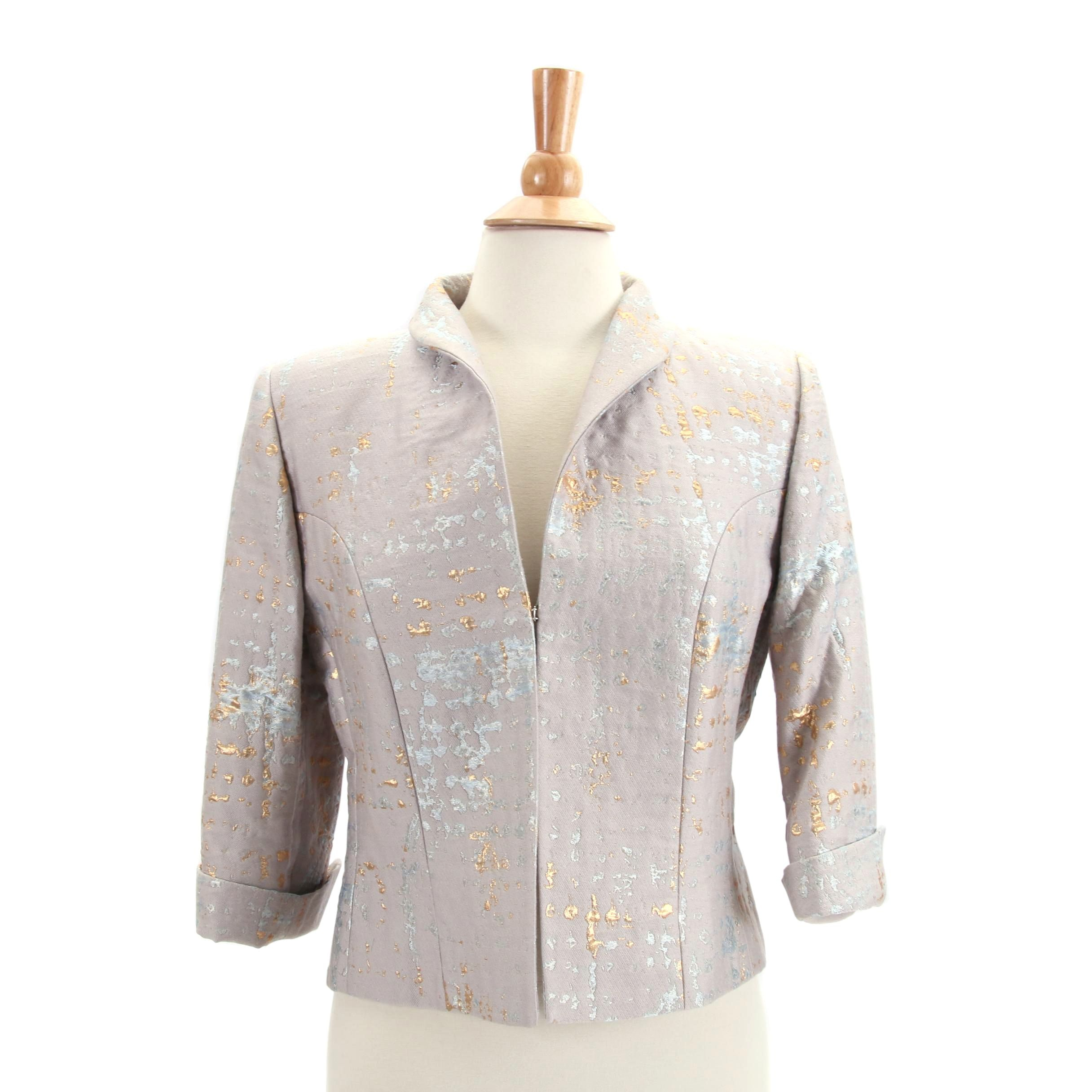 Women's Pauw Amsterdam Gray Cropped Jacket with Blue and Gold Metallic Threads