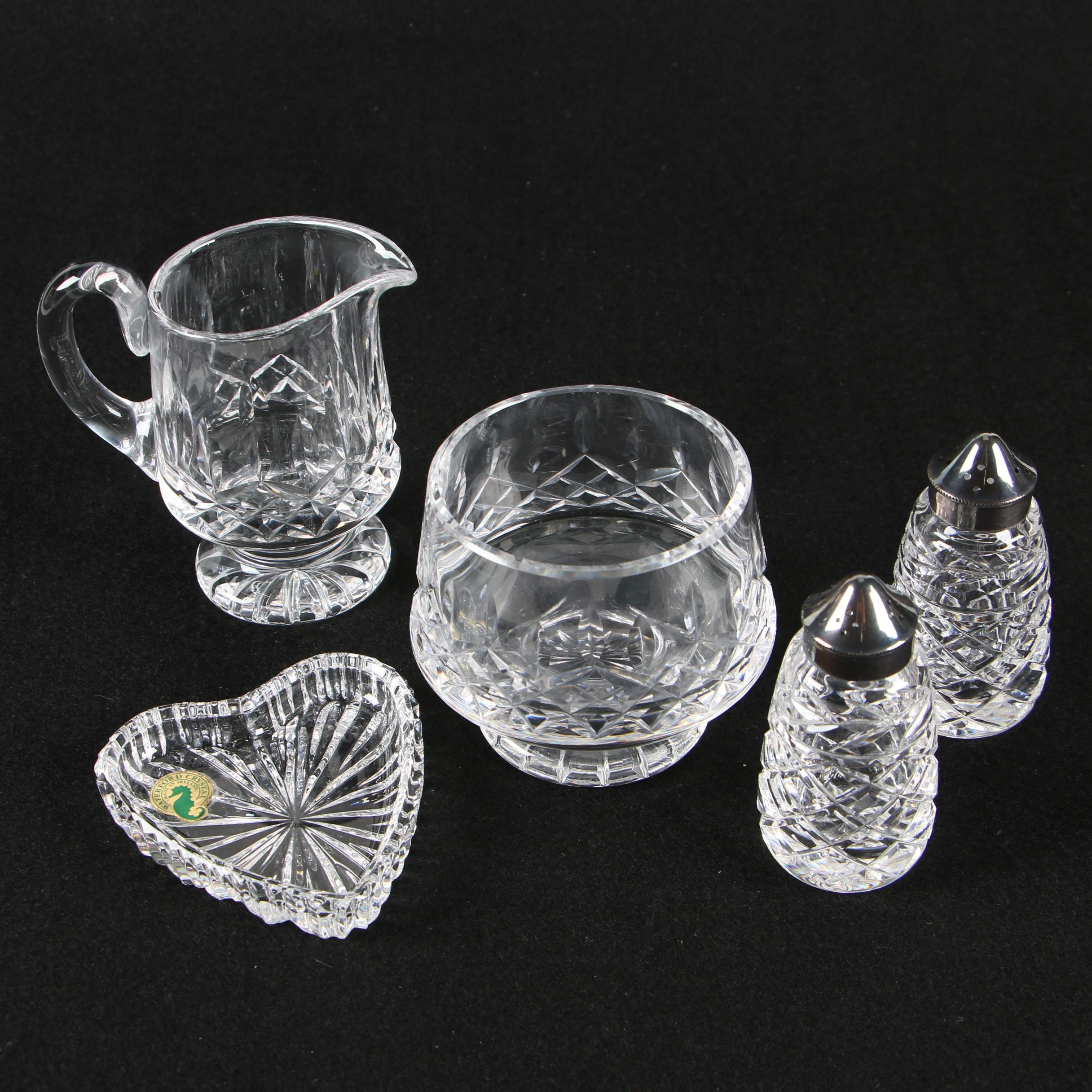 Waterford Crystal Bowl, Salt and Pepper Shakers, and Crystal Creamer, 20th Cent