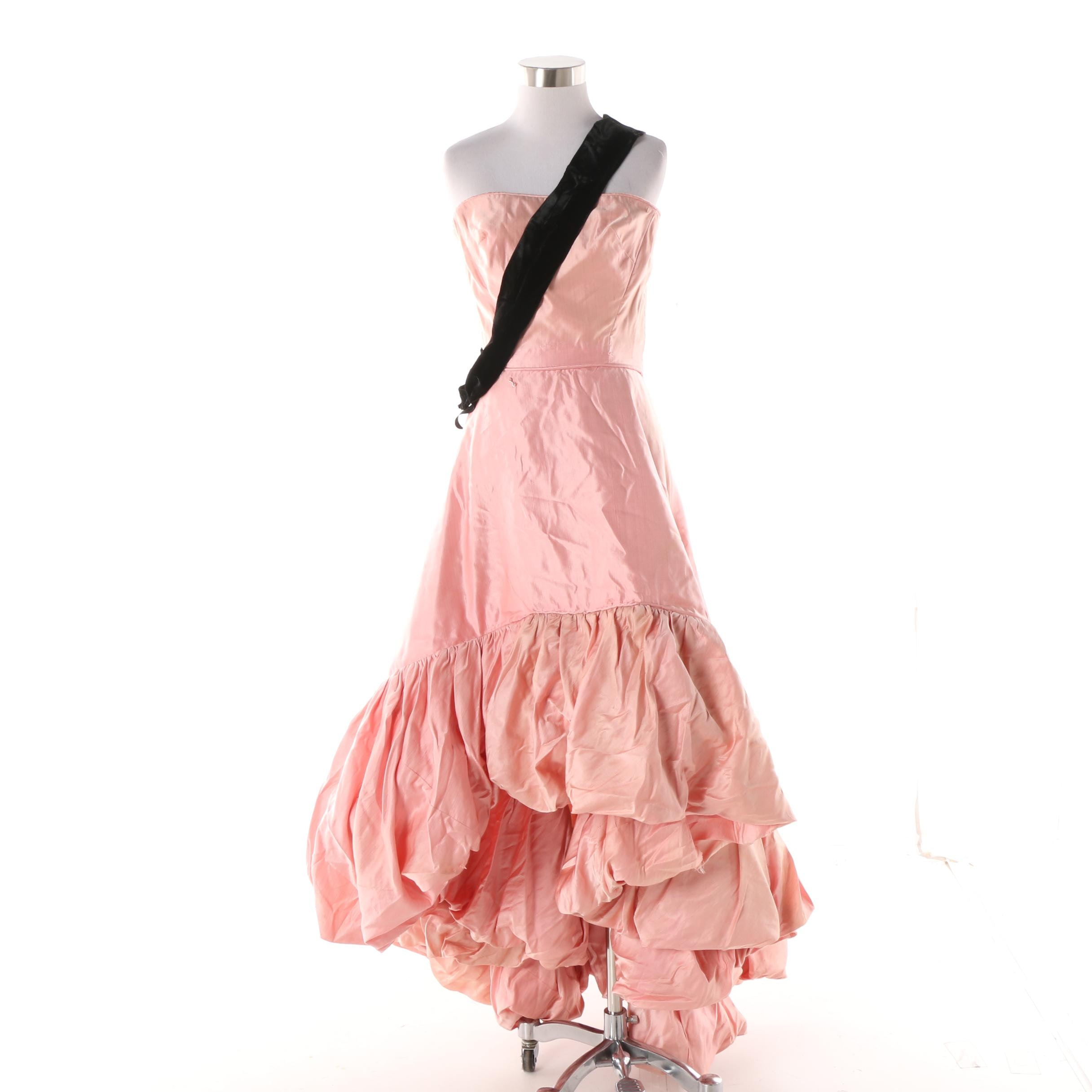 Women's Circa 1980s Vintage Western Costume Co. Pink Strapless Gown