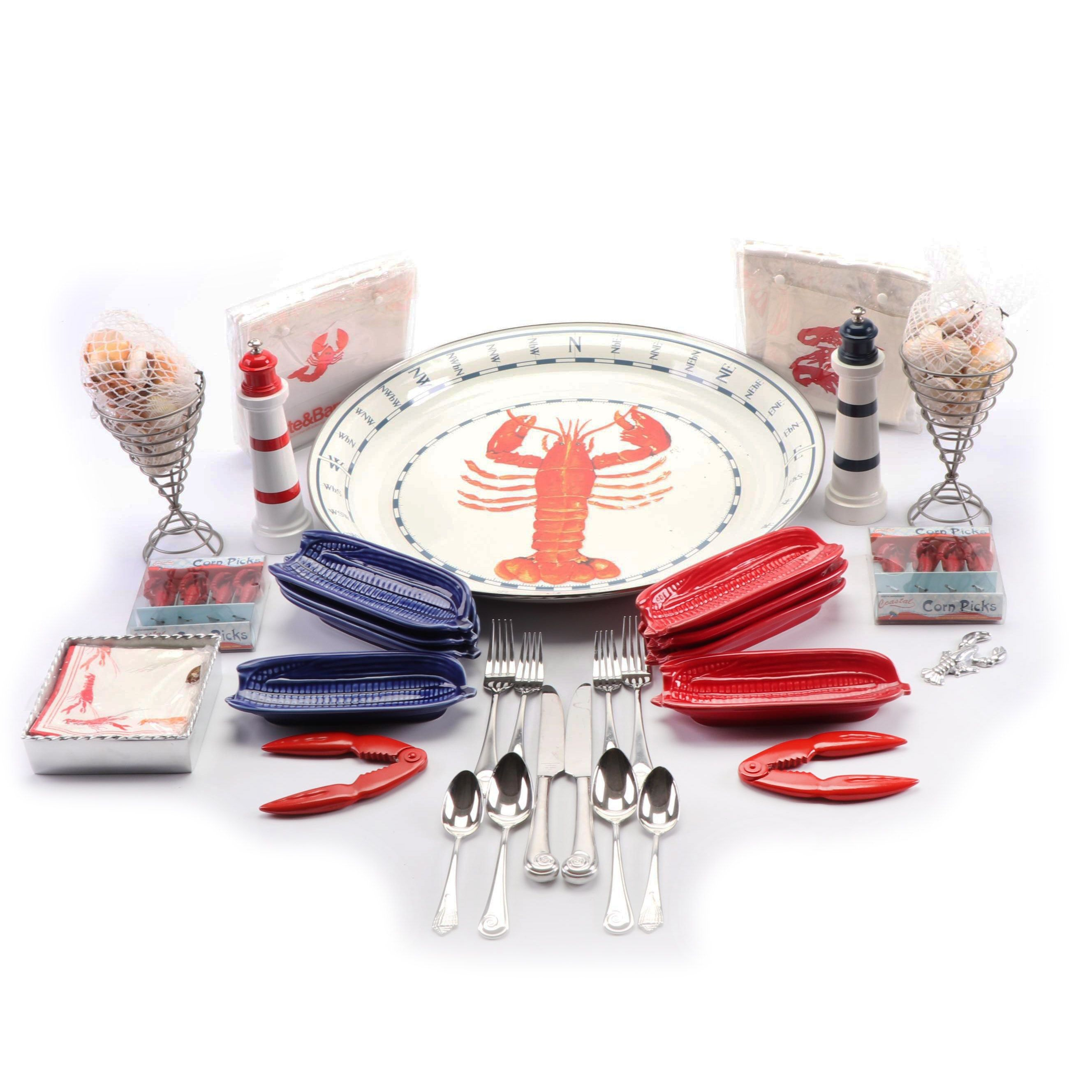 Lobster Themed Ceramic Dinnerware with Reed & Barton Stainless Utensils