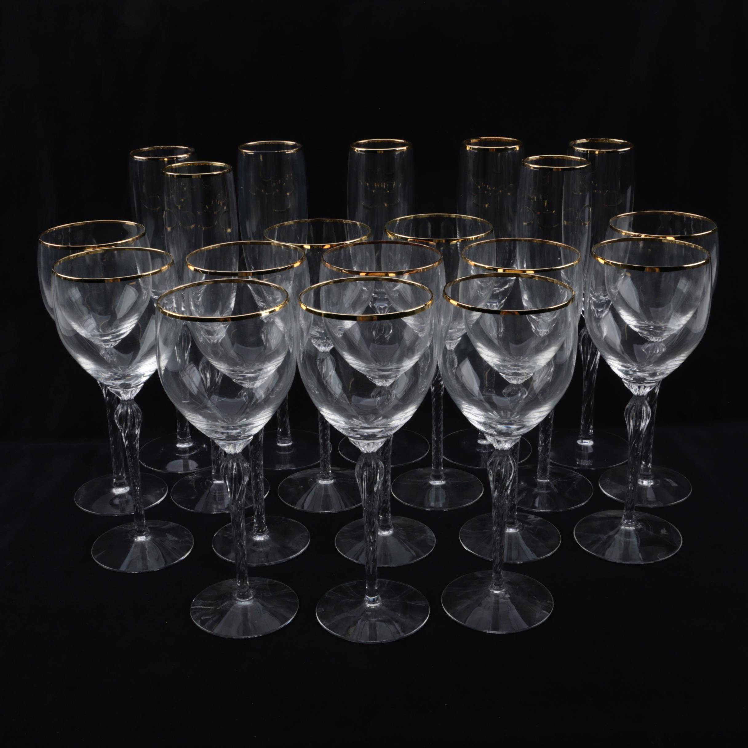 "Lenox ""Monroe"" Crystal White Wine Glasses and Champagne Flutes with Gold Rims"