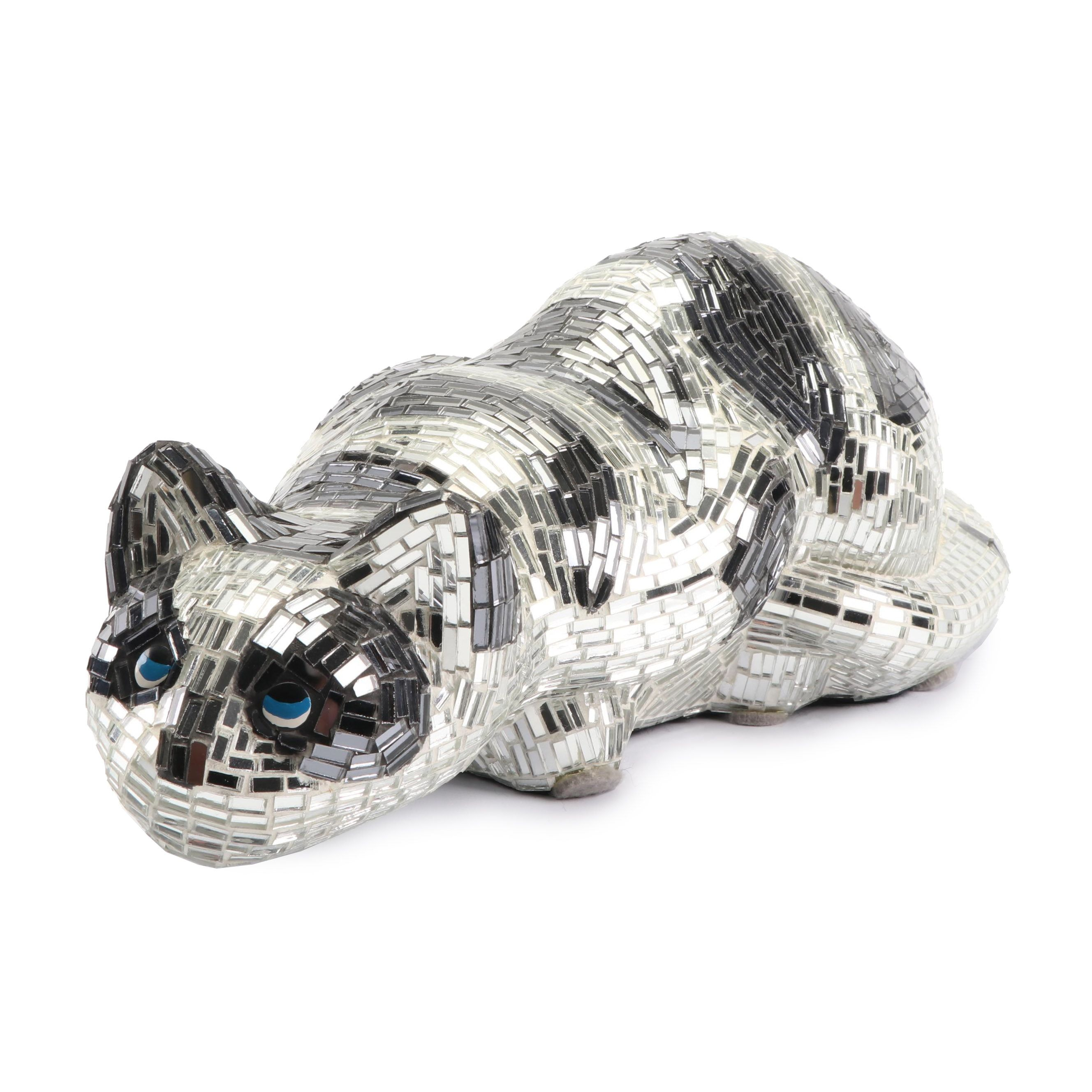 Glass Mosaic Crouching Cat Sculpture