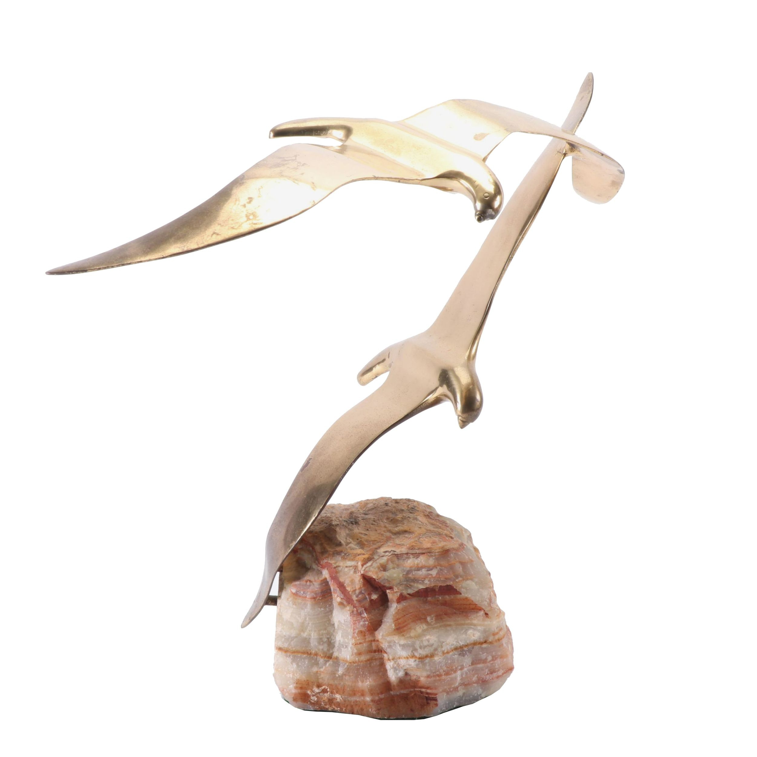 Curtis Jere Brass and Calcite Flying Seagulls Sculpture