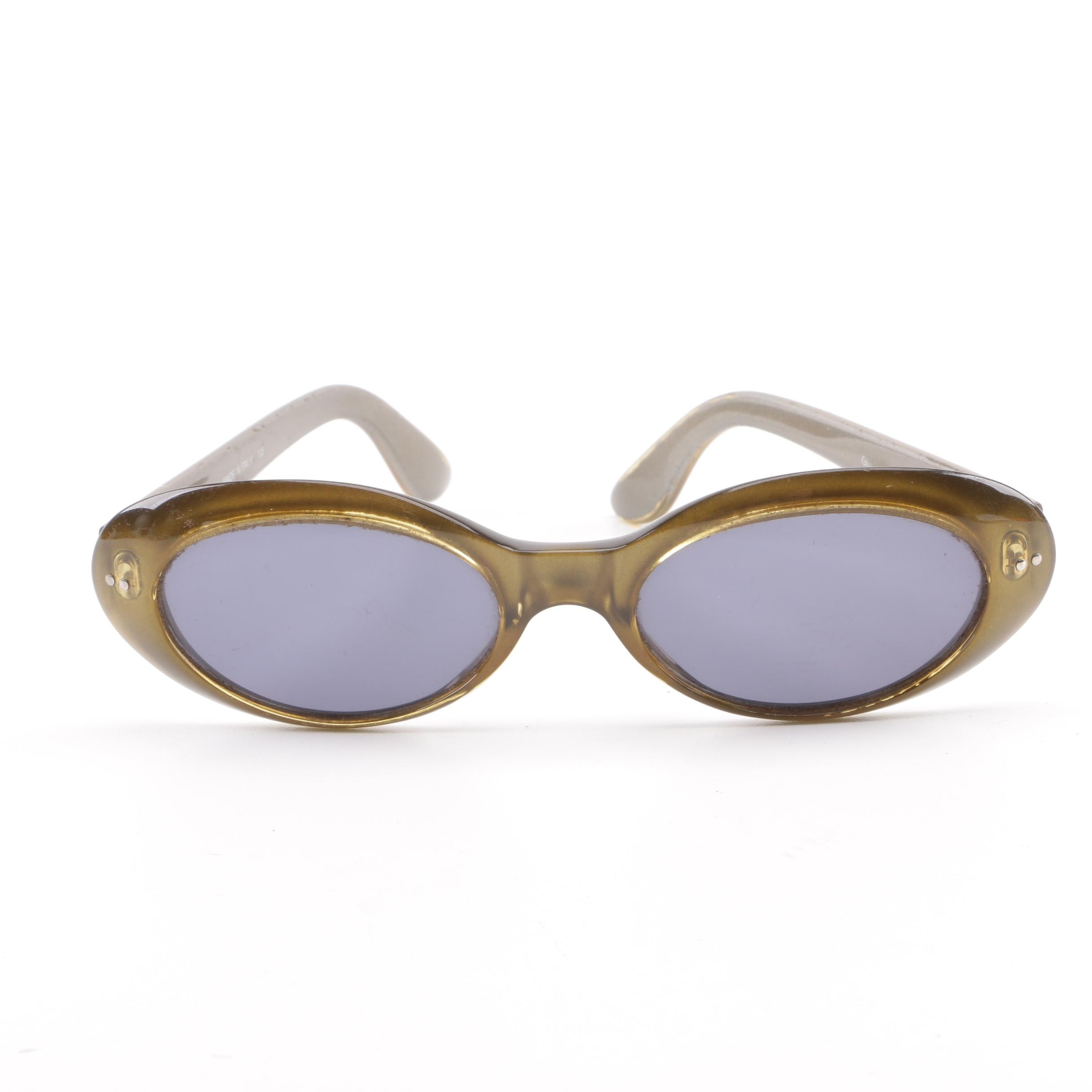 Vintage Gucci GG Metallic Green Oval Sunglasses