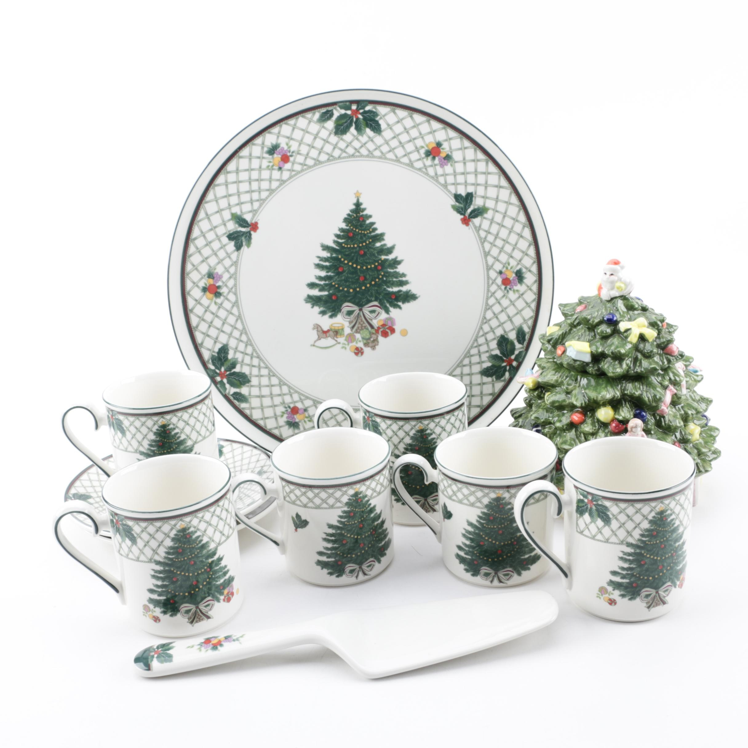 "Mikasa ""Christmas Story"" Tableware and Royal China and Porcelain Co. Cookie Jar"