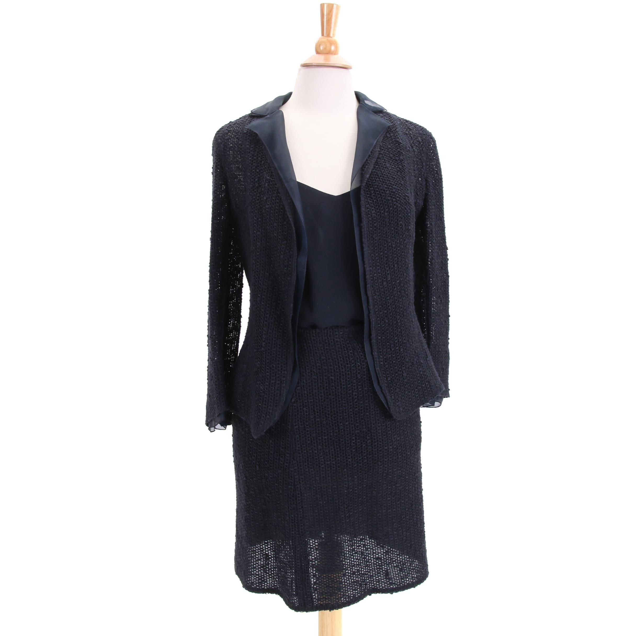 Akris Dark Navy Knit Skirt Suit with Silk Tank