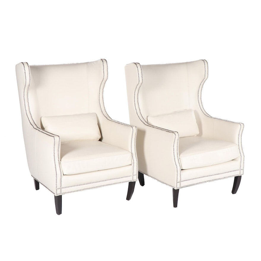 Davis Leather Wingback Armchairs By Z Gallerie 21st Century