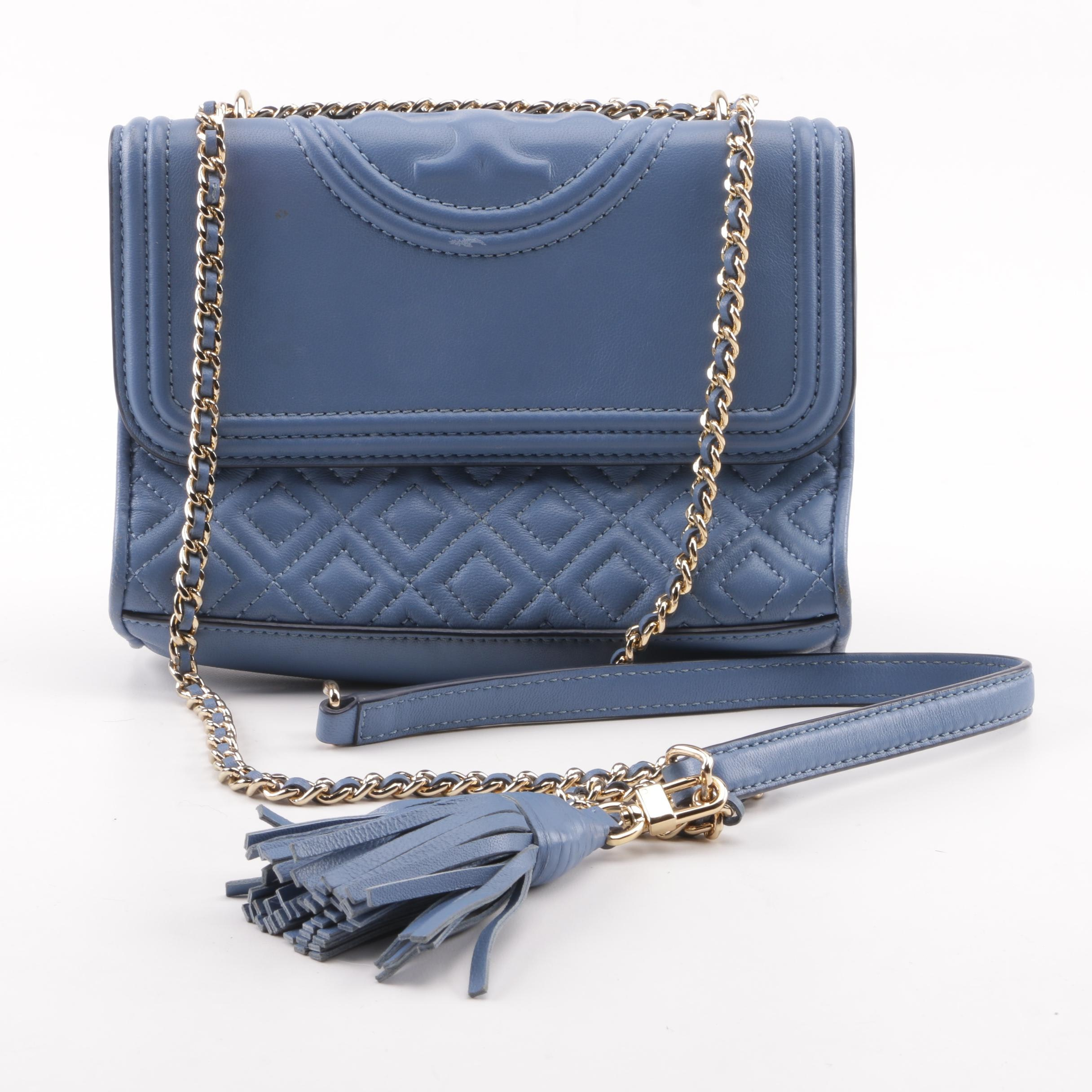 Tory Burch Fleming Blue Quilted Leather Crossbody Bag
