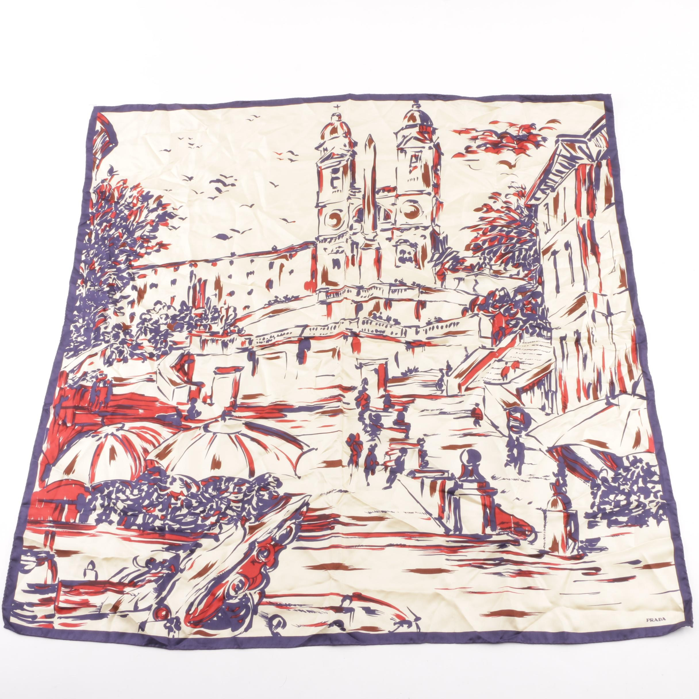 Prada Rome Print Silk Twill Scarf