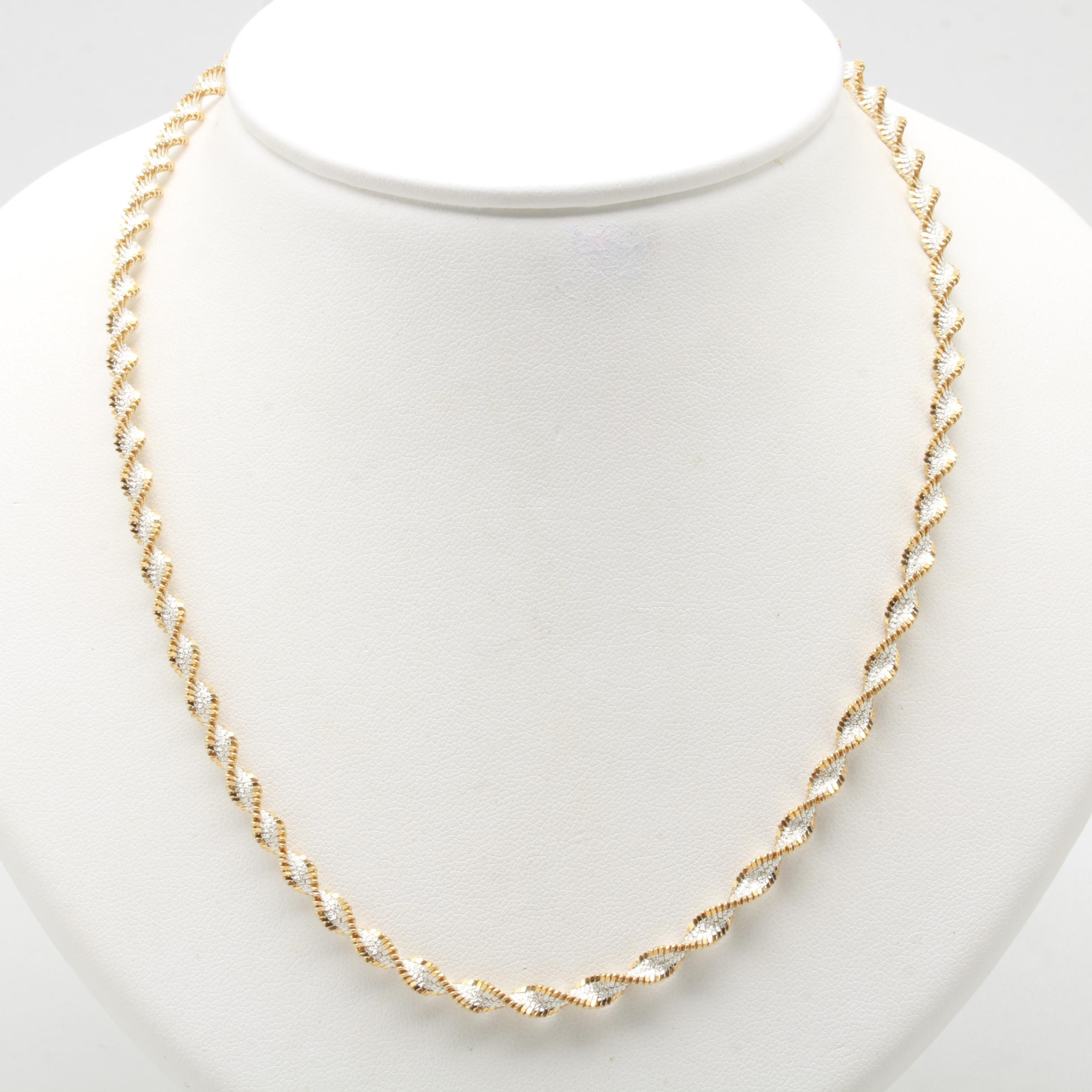 Italian Sterling Silver Two Tone Rope Twist Necklace