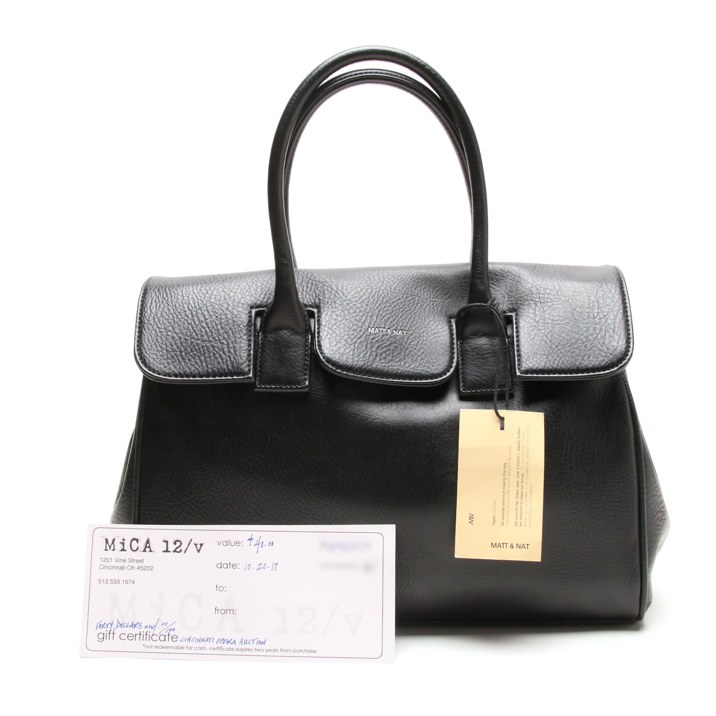 Matt & Nat Clarke Black Vegan Leather Satchel and MiCA Gift Certificate