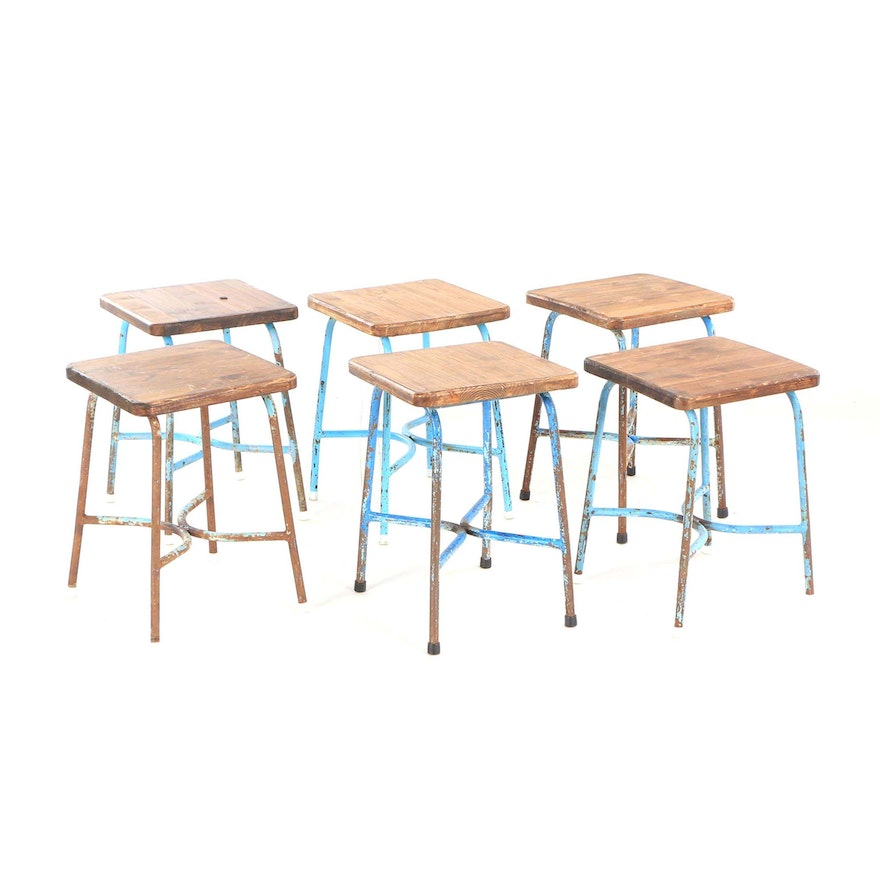 Astounding Industrial Style Hungarian Pine And Metal Cafe Stools Mid 20Th Century Forskolin Free Trial Chair Design Images Forskolin Free Trialorg