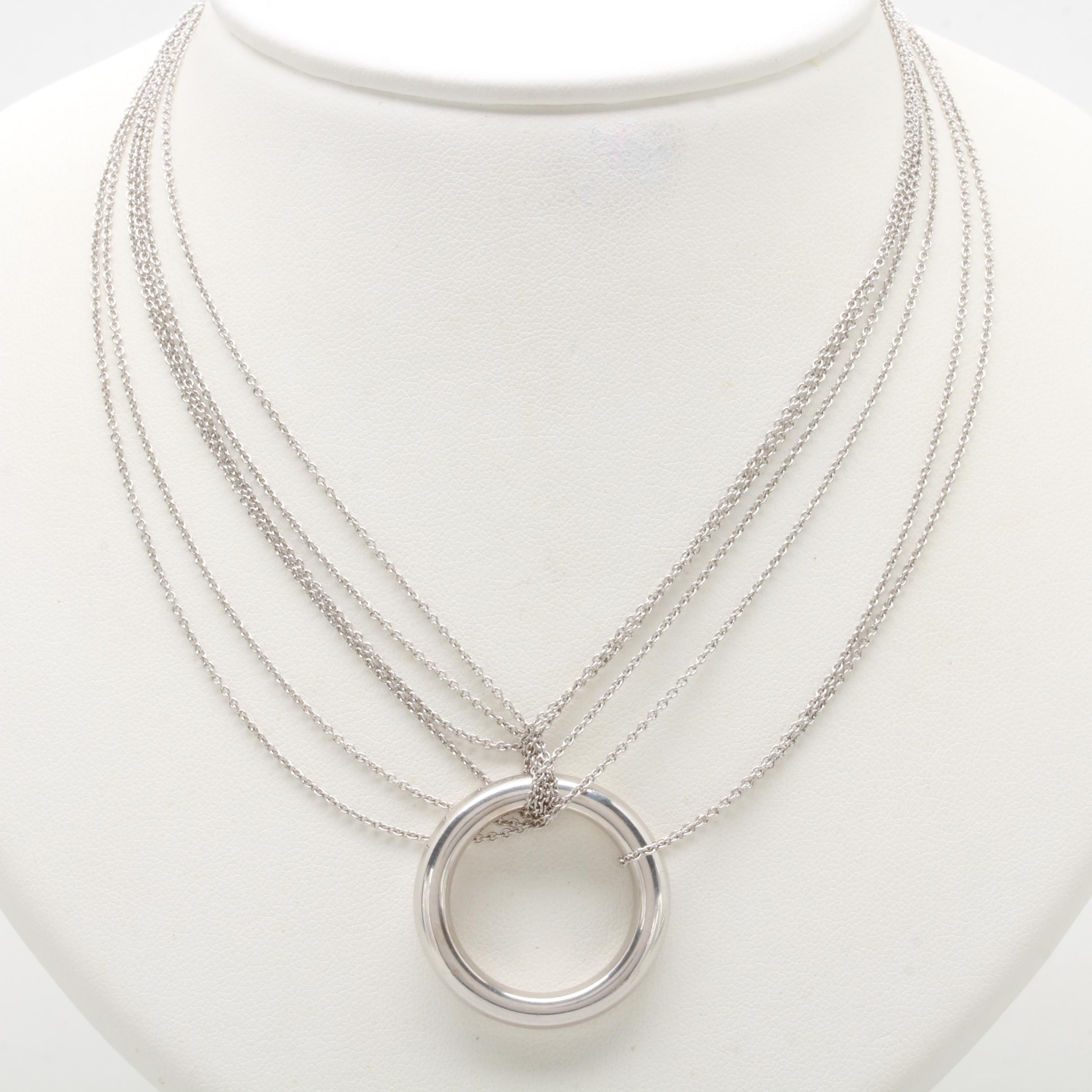 Milor 14K White Gold Multi Strand Necklace with Circle Pendant