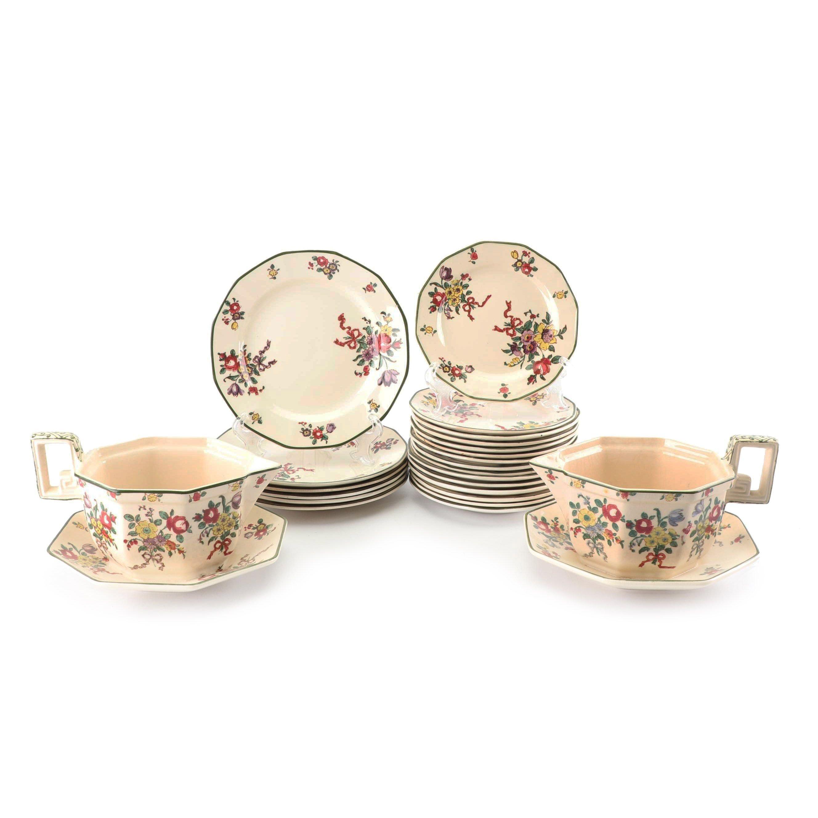 """Royal Doulton """"Old Leeds Spray"""" Earthenware Tableware, Circa 1912"""