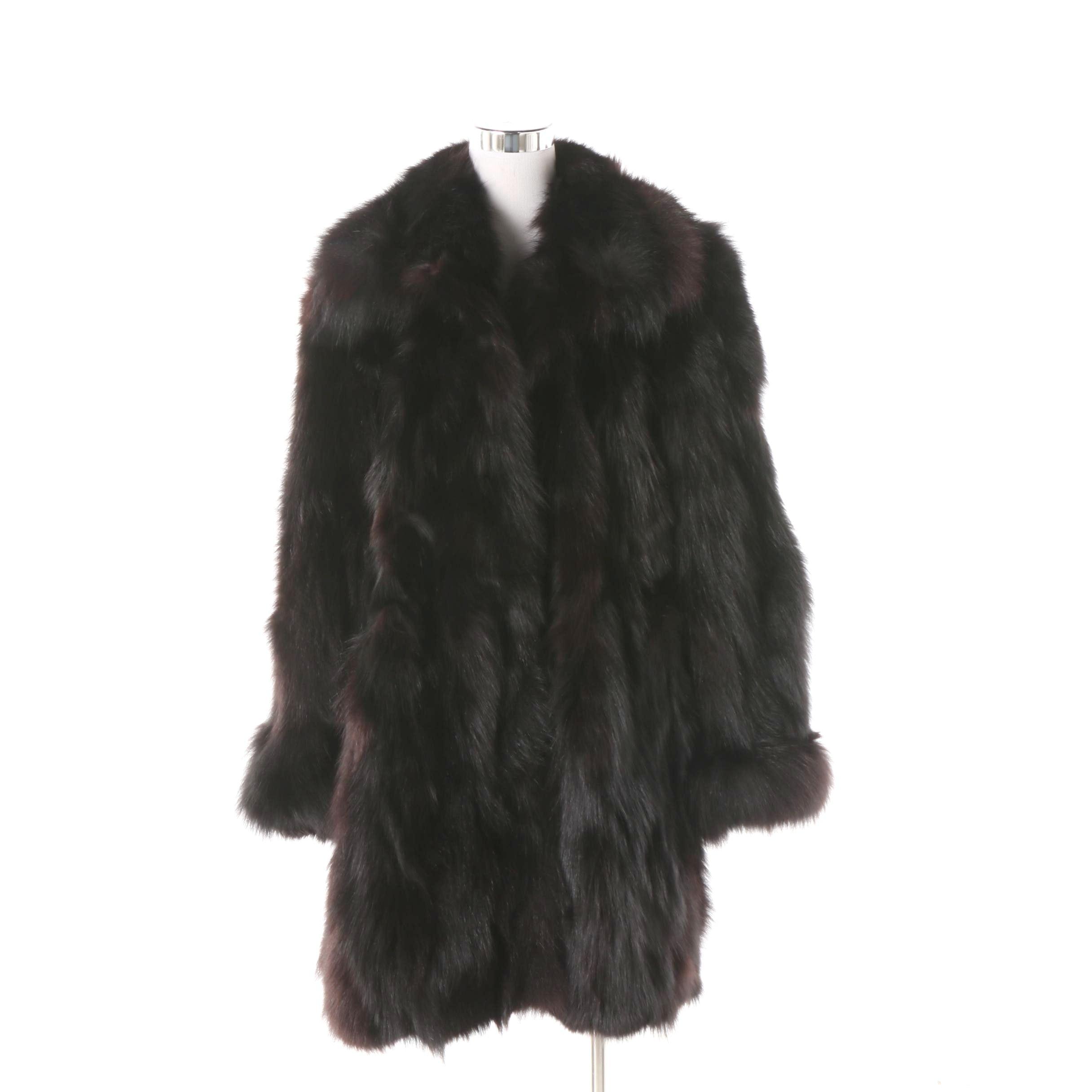 Women's Dyed Black Fox Fur Coat