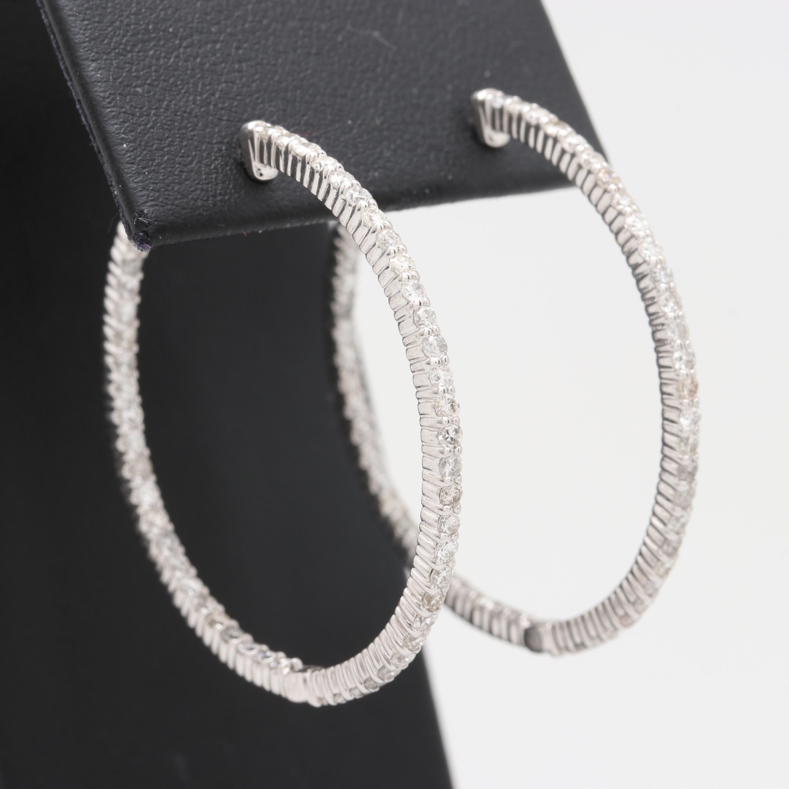 14K White Gold 1.80 CTW Diamond Inside-Out Hoops