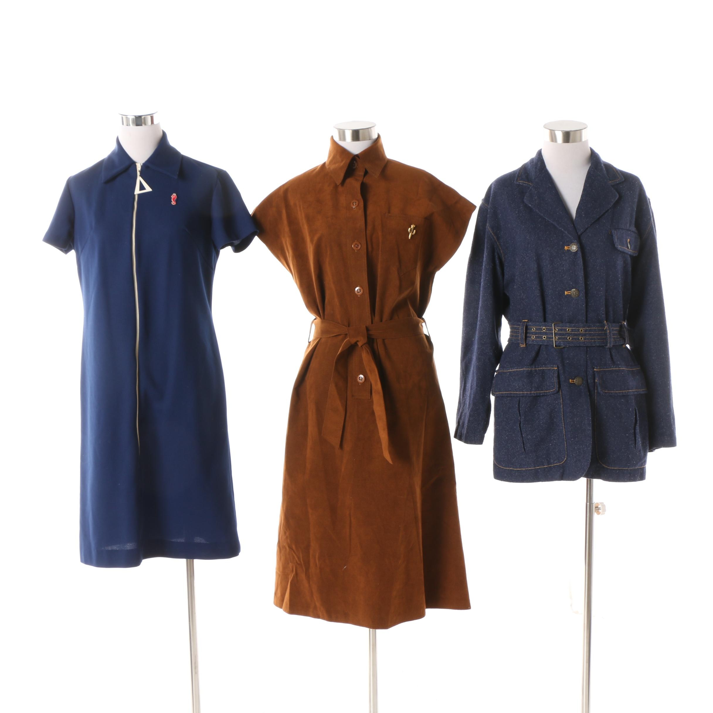 Women's Circa 1970s Vintage Shirt Dresses and Jacket including Styleworks