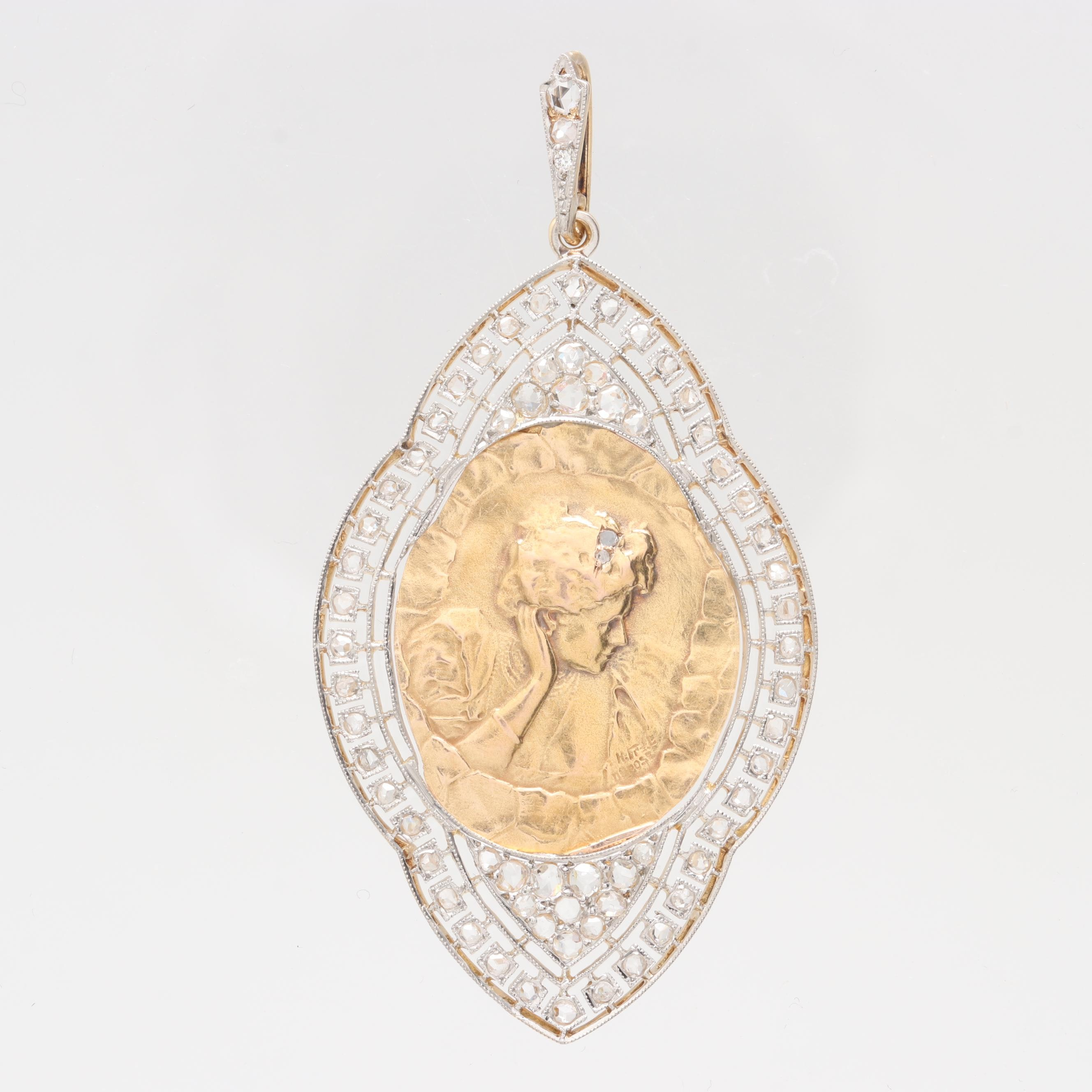 18K Yellow Gold and Platinum Polki Diamond Pendant
