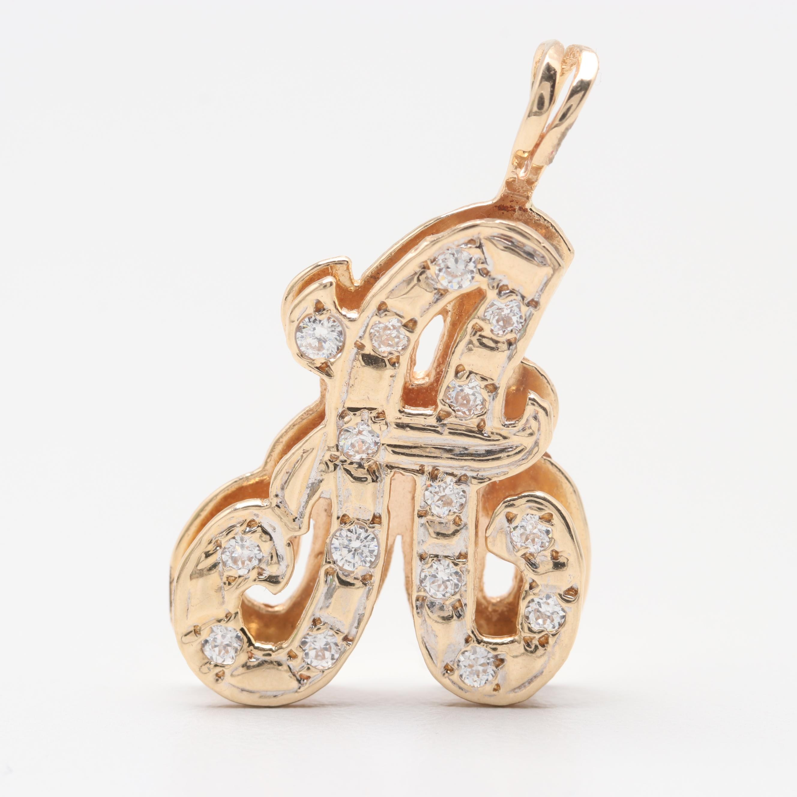 "14K Yellow Gold Cubic Zirconia ""A"" Pendant"