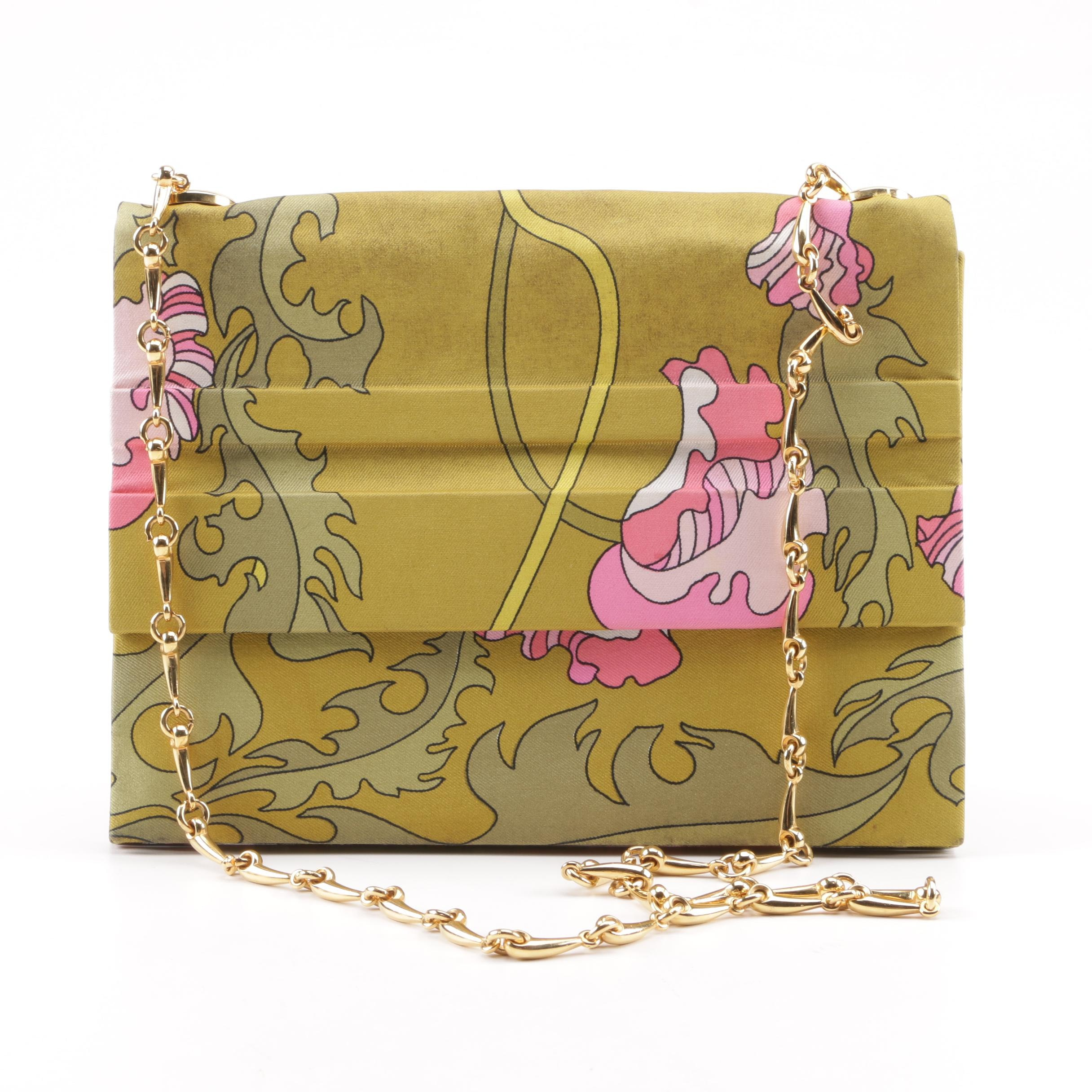 Vintage Emilio Pucci Green and Pink Botanical Print Shoulder Bag