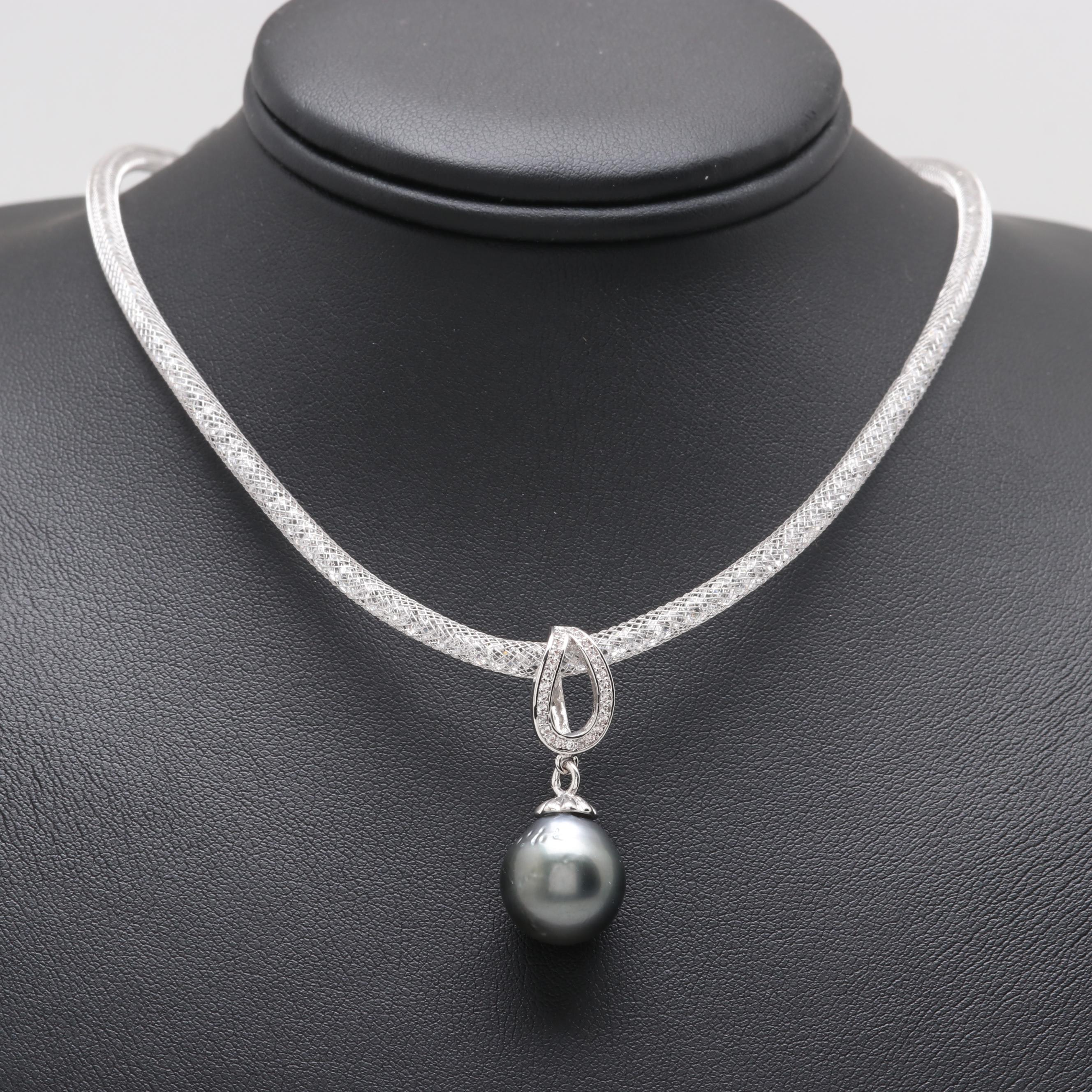 Silver Tone Cultured Pearl Cubic Zirconia Necklace