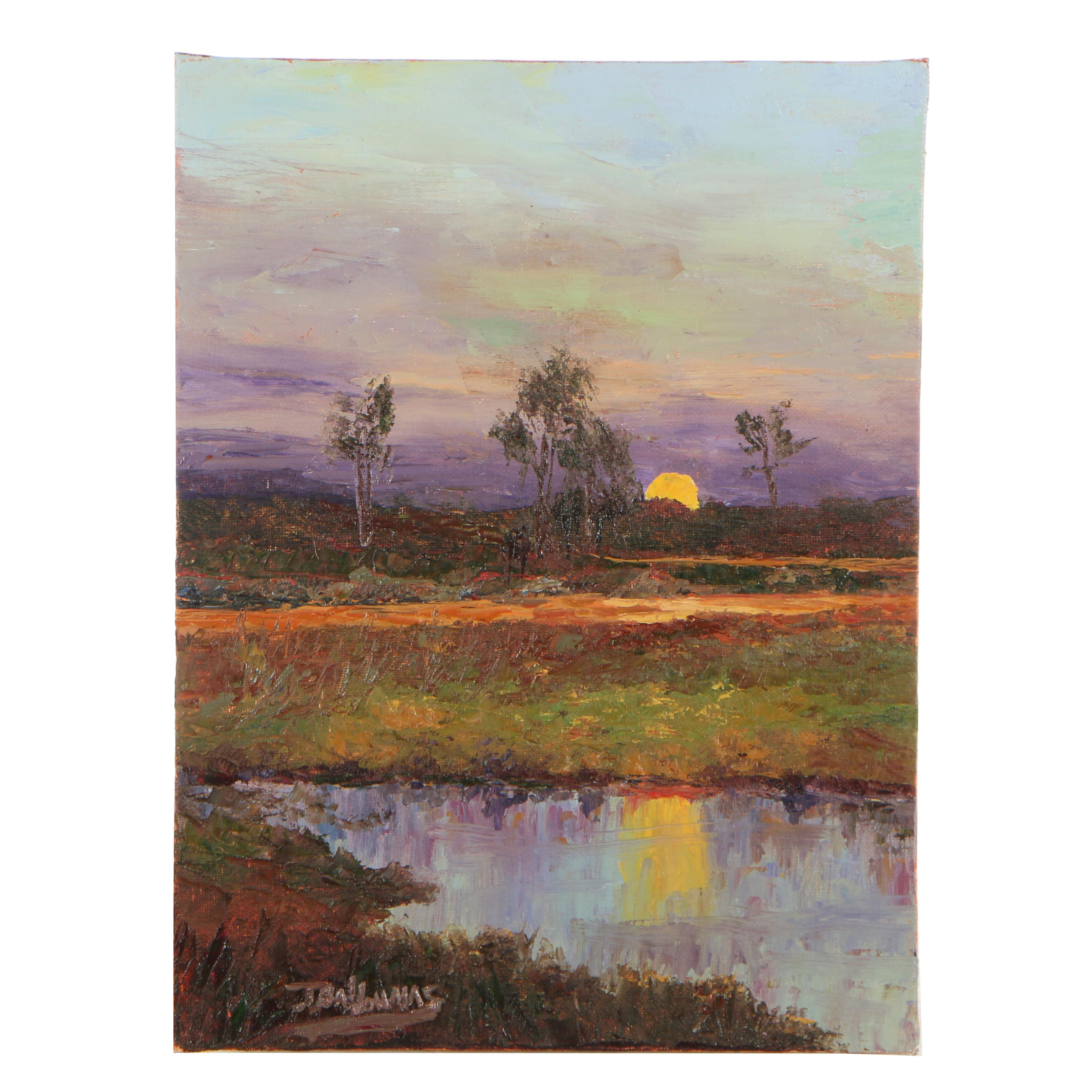 "James Baldoumas Oil Painting ""Marsh Sunset"""