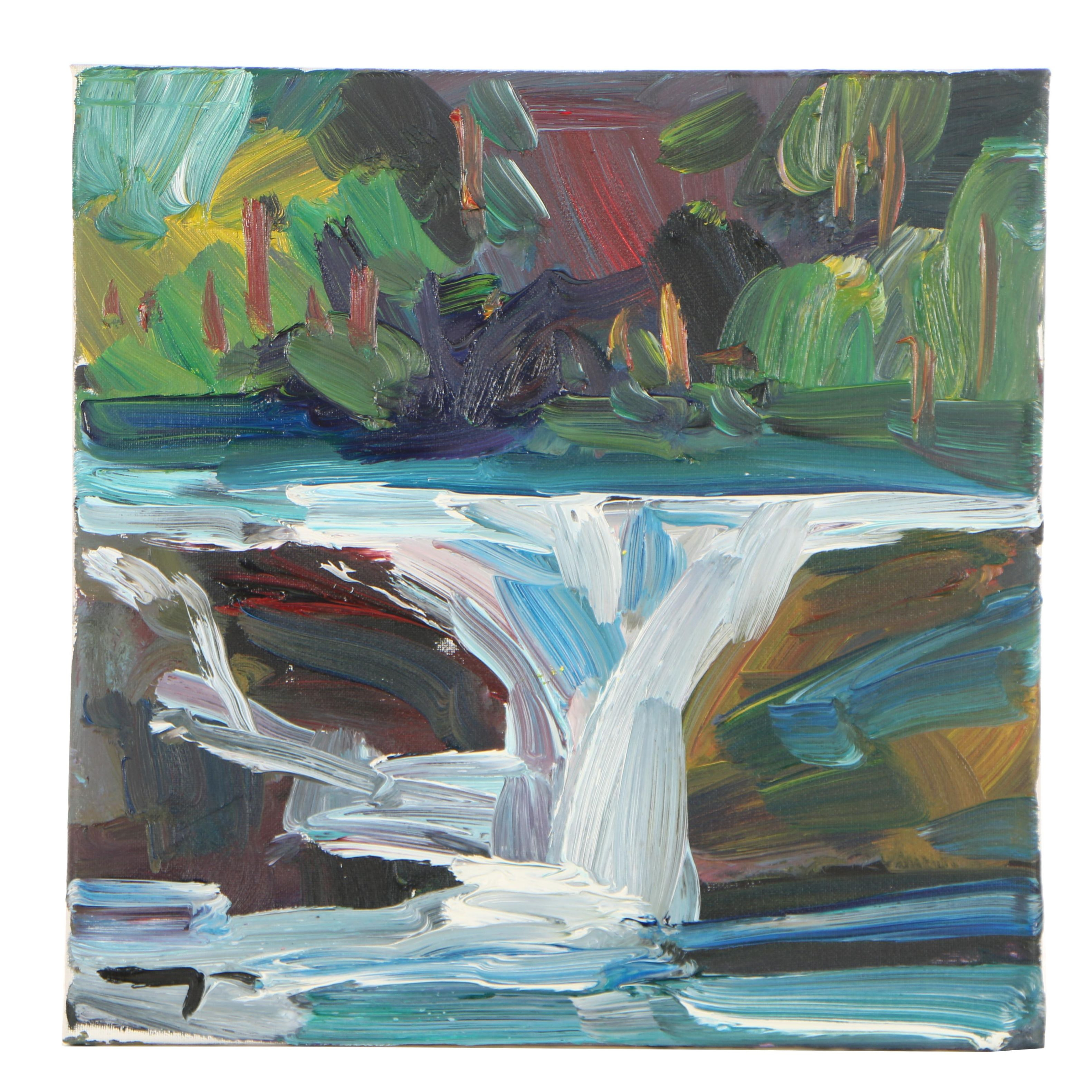 """James Trujillo Oil Painting """"The Fall of Water"""""""