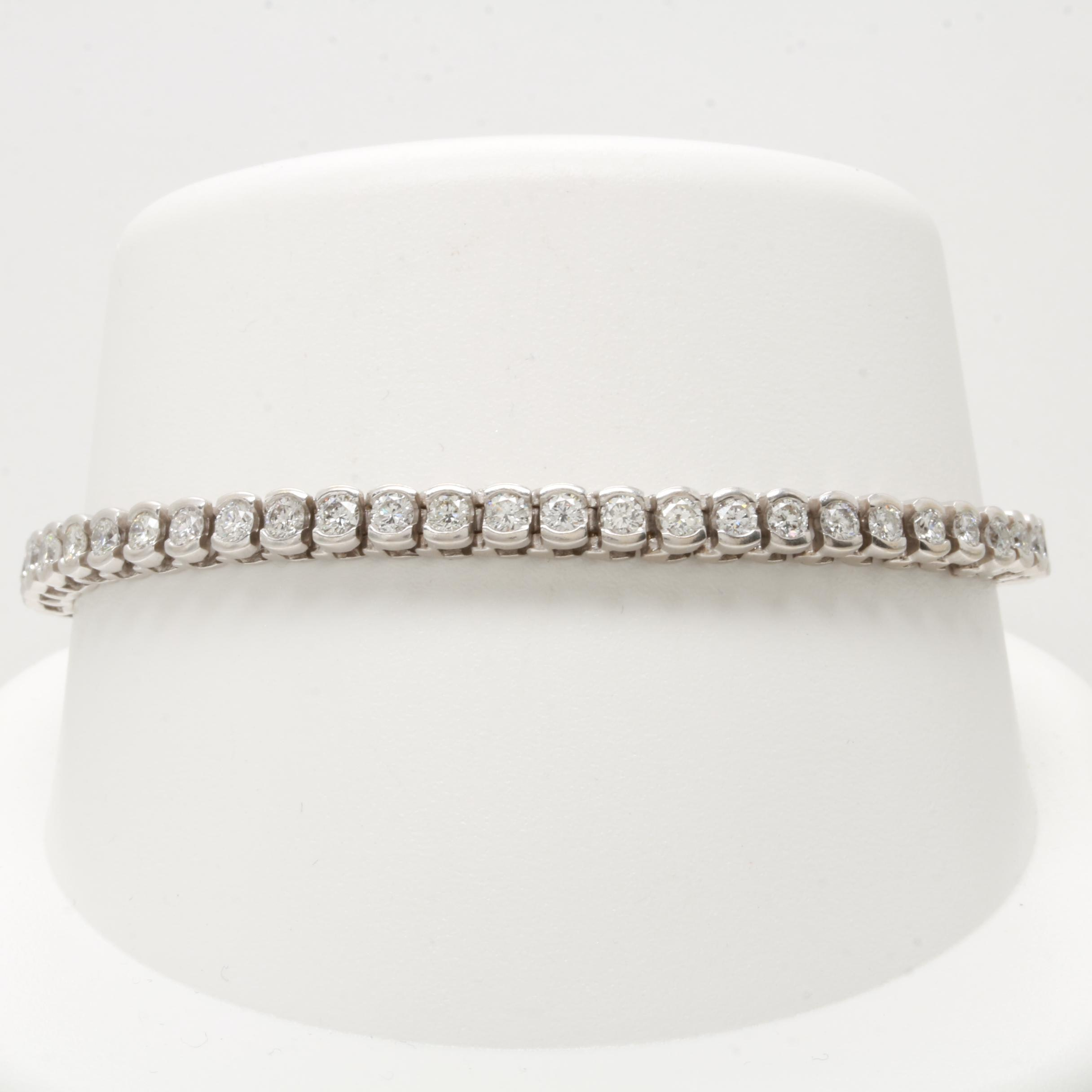 14K White Gold 3.90 CTW Diamond Bracelet